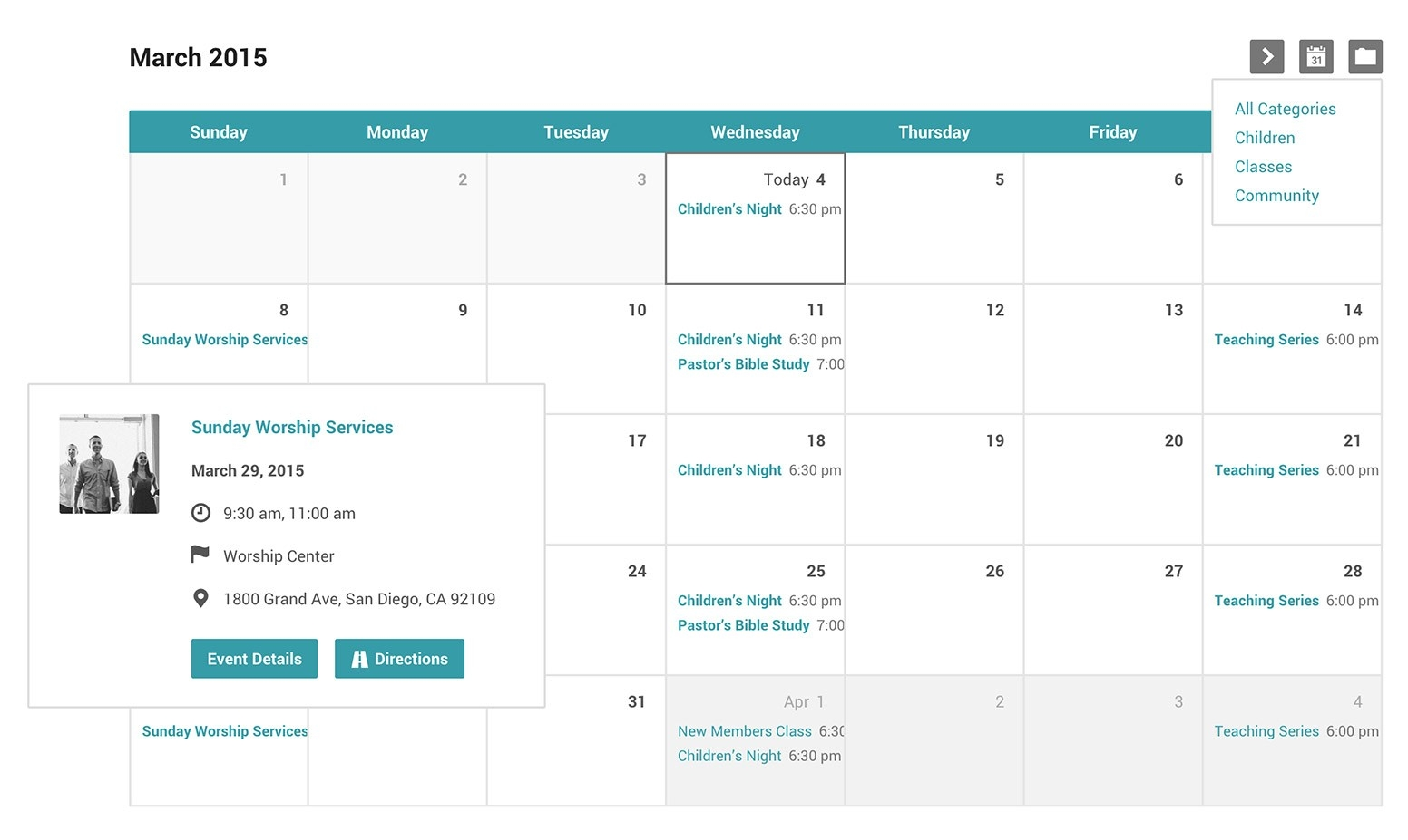 Church Events Calendar And Categories For WordPress  Calendar Templates For Churches