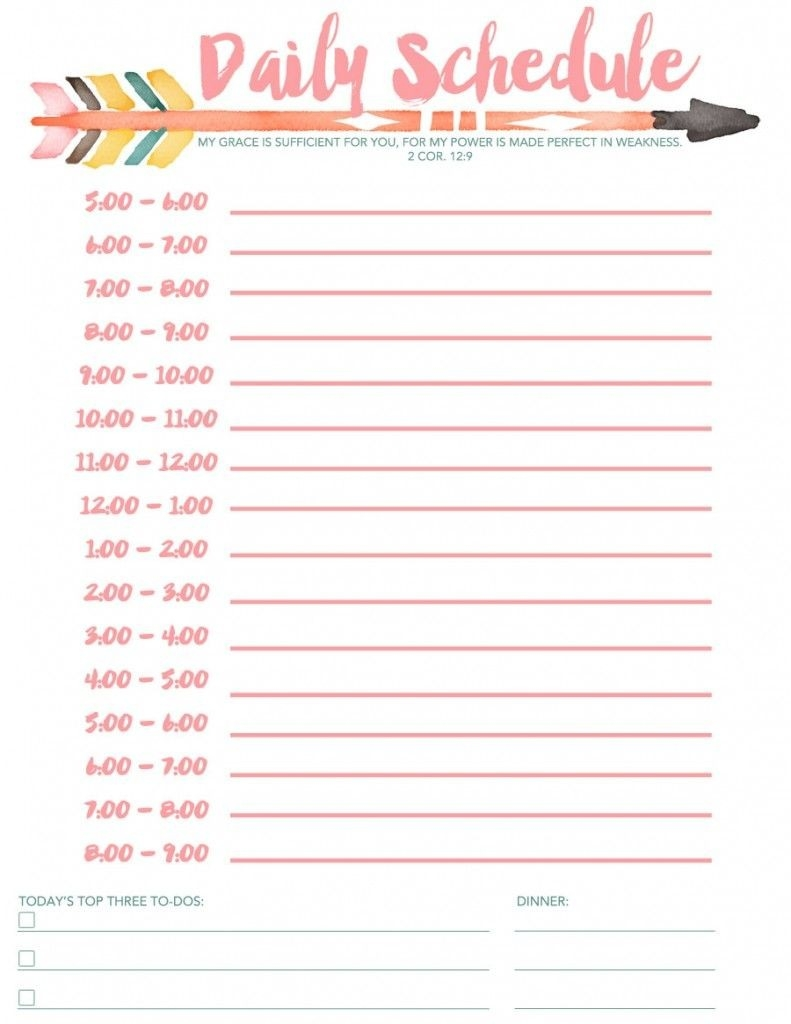 Daily Schedule Free Printable | Daily Schedule Template  Free Printable Daily Schedule