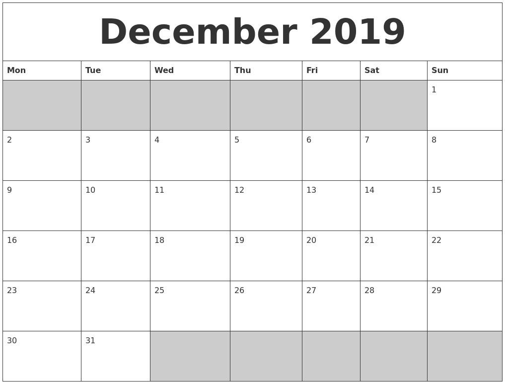 December 2019 Printable Calendar - Free Blank Templates  Free Printable Calendar Templates