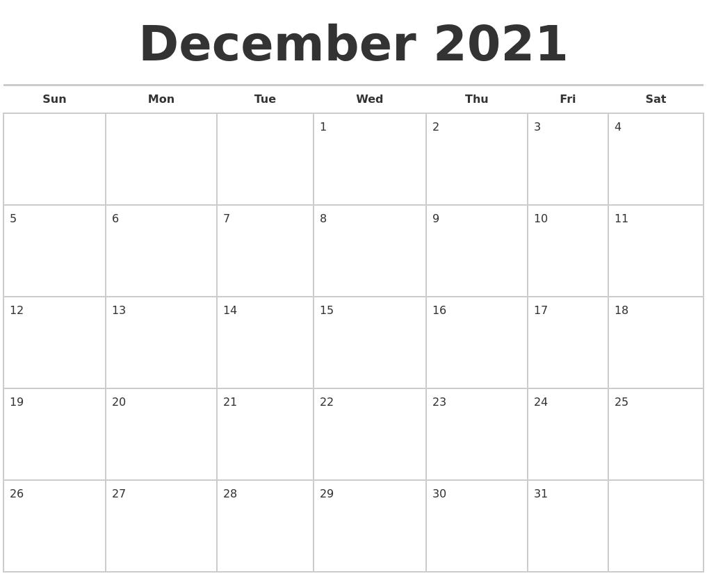 December 2021 Calendars Free  Calendar October November December 2021
