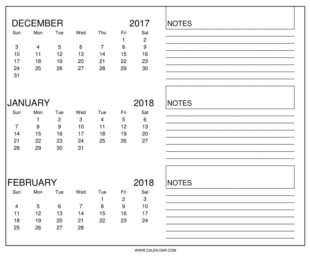 December January February 2018 Calendar | Three Month Calendar  3 Month On One Page