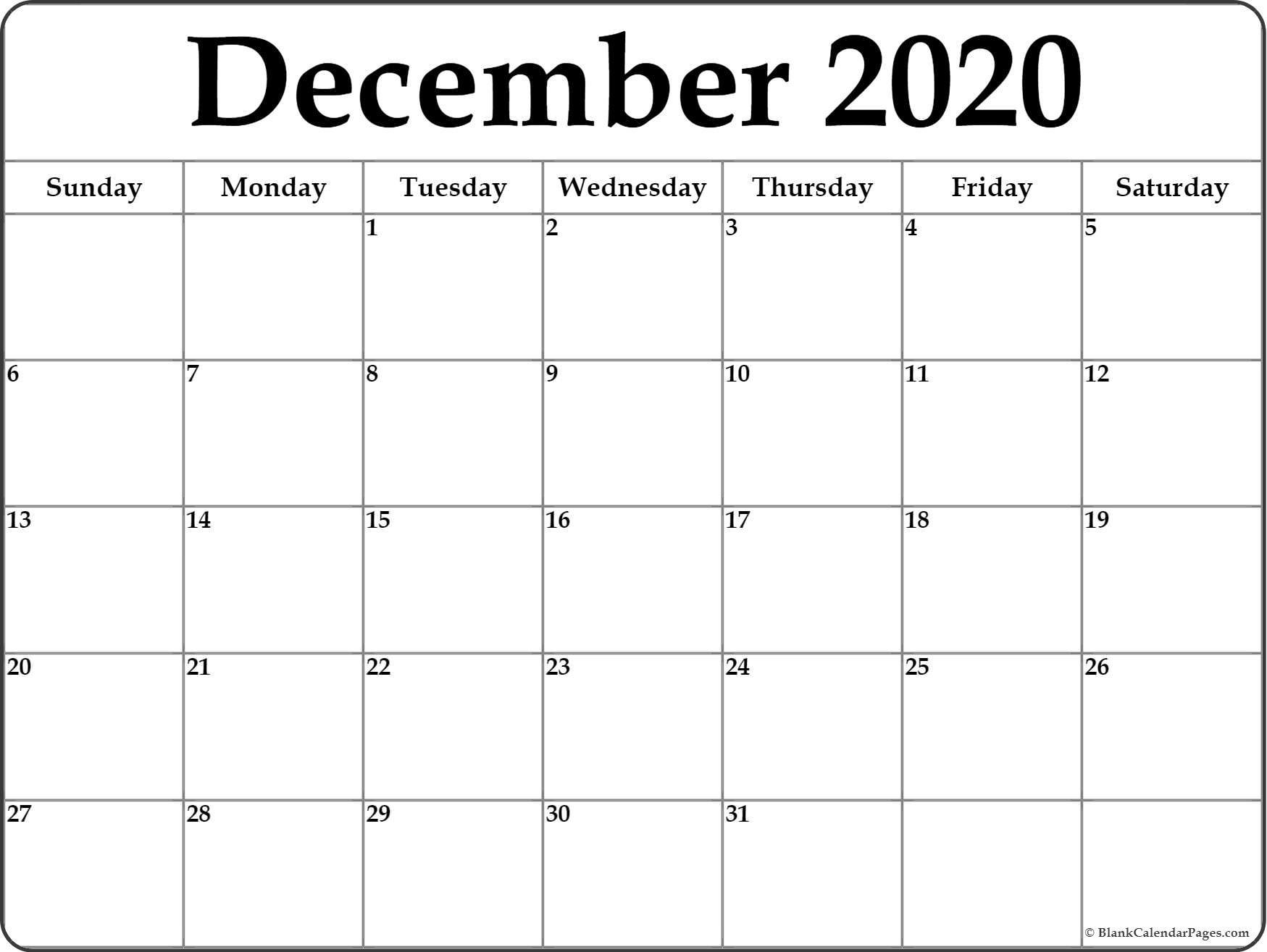 December Monthly Calendar 2020 - Akali  Free 4X6 Printable Calendar 2020