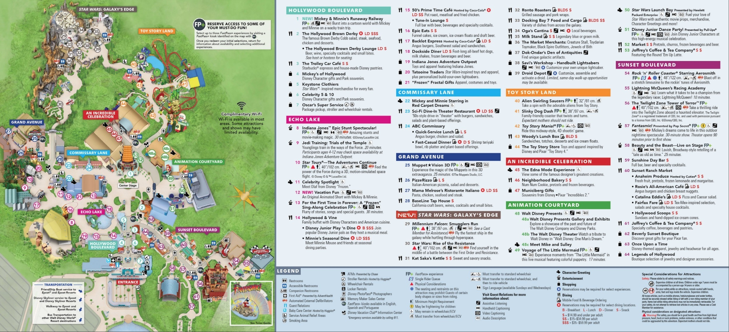 Disney's Hollywood Studios Map At Walt Disney World  2020 List Of Disney Rides