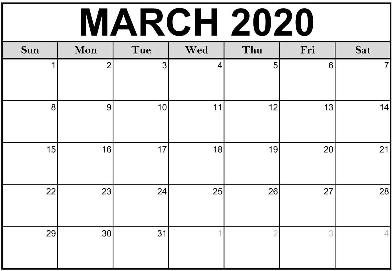 Download Fillable March 2020 Calendar Pdf Word A4 Excel  Free Printable Monthly Calendar March 2020