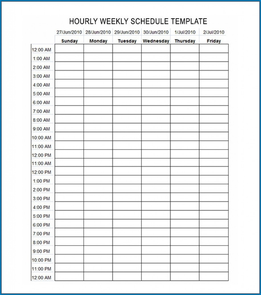 √ Free Editable Schedule Template Hourly | Templateral  Printable Hourly Schedule Template