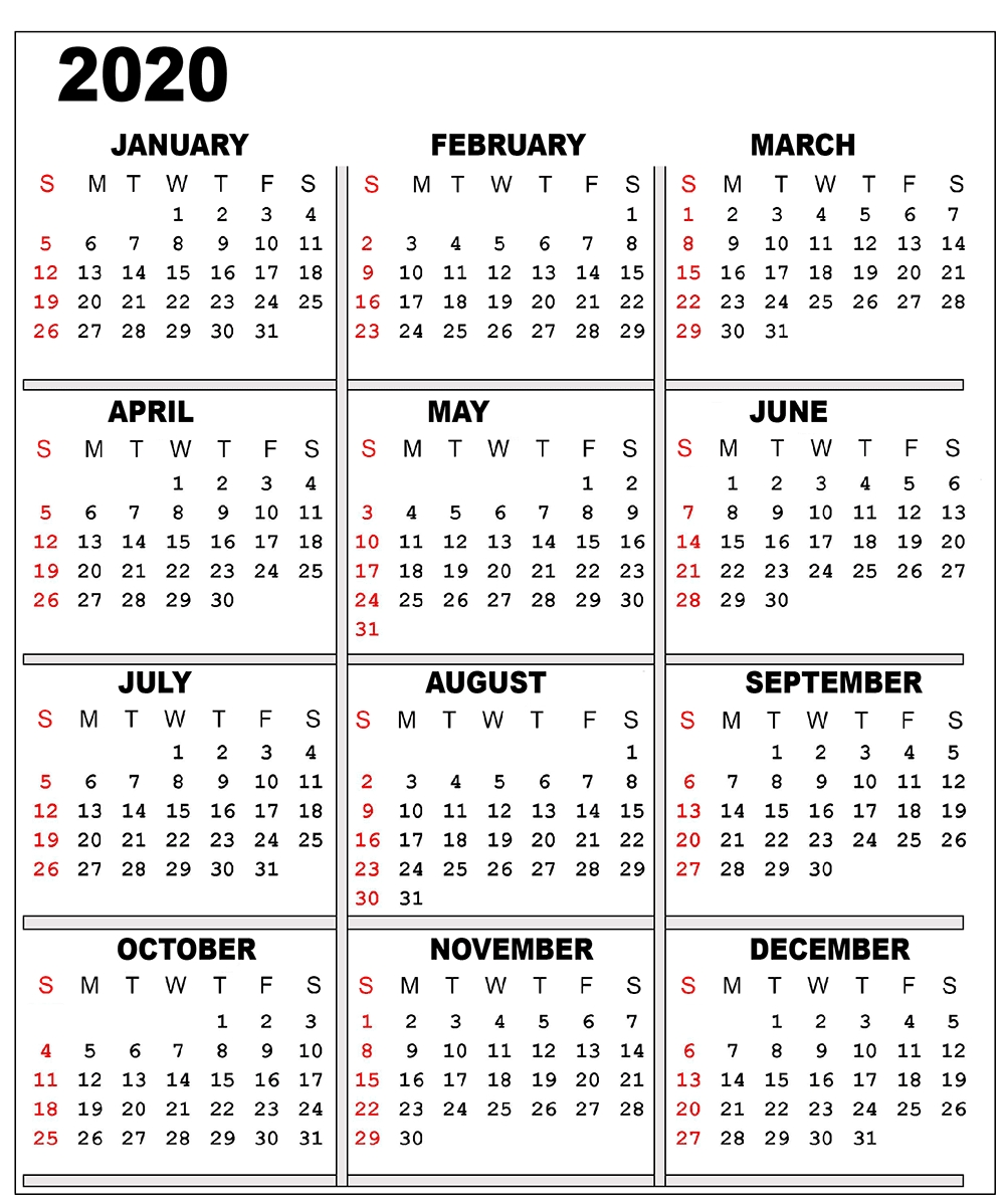 ❤️free 2020 One Page Calendar Printable Templates  Calendar 2020 Printable One Page