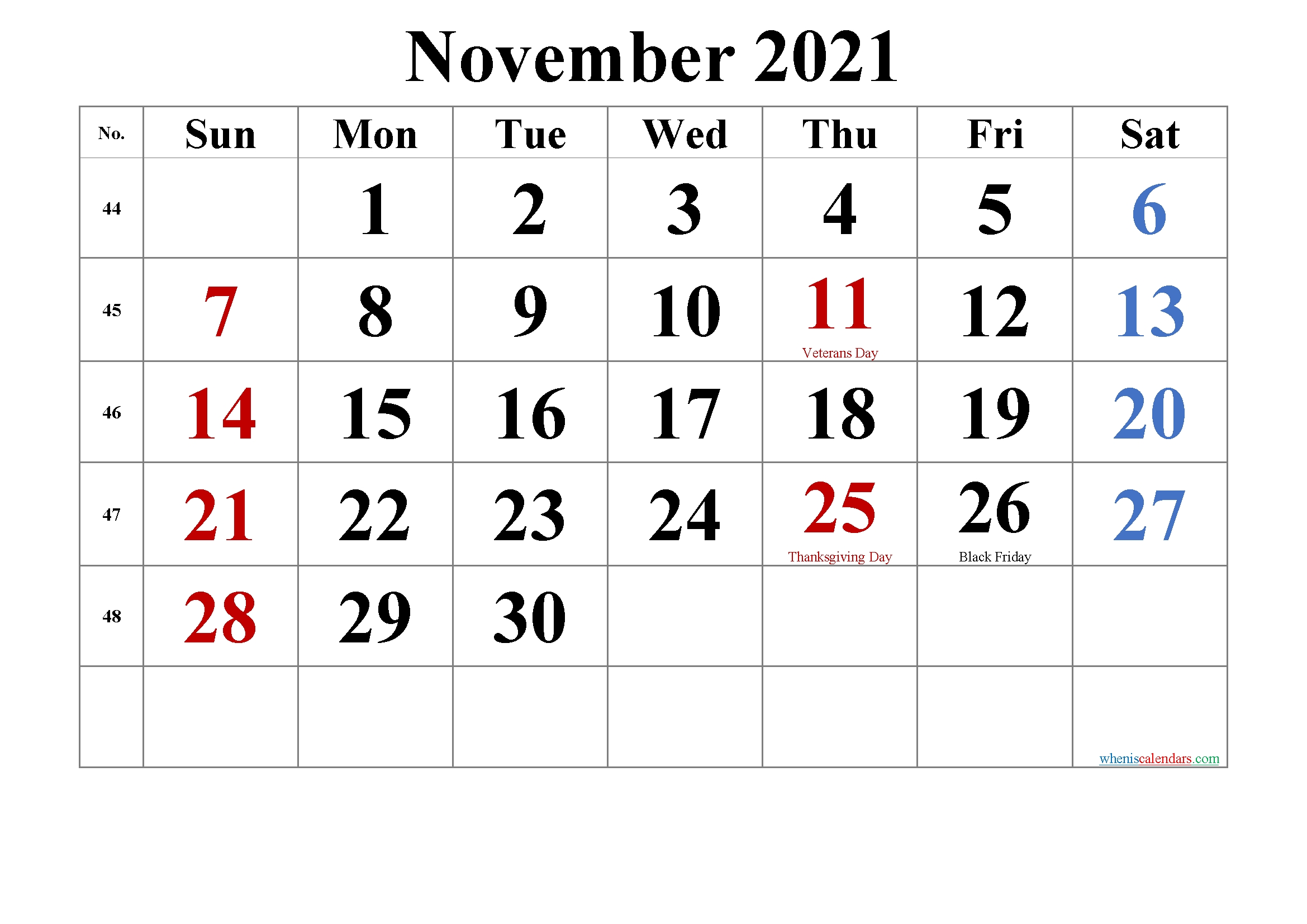 Editable November 2021 Calendar-Template No.tr21M47 | Free  4 Month Fillable Calendar 2021