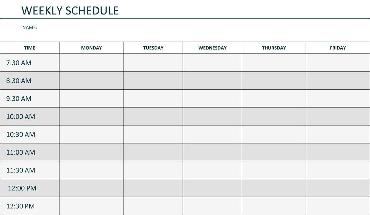 Editable Weekly Schedule Template In Word | Schedule  Weekly Calendar Template Editable