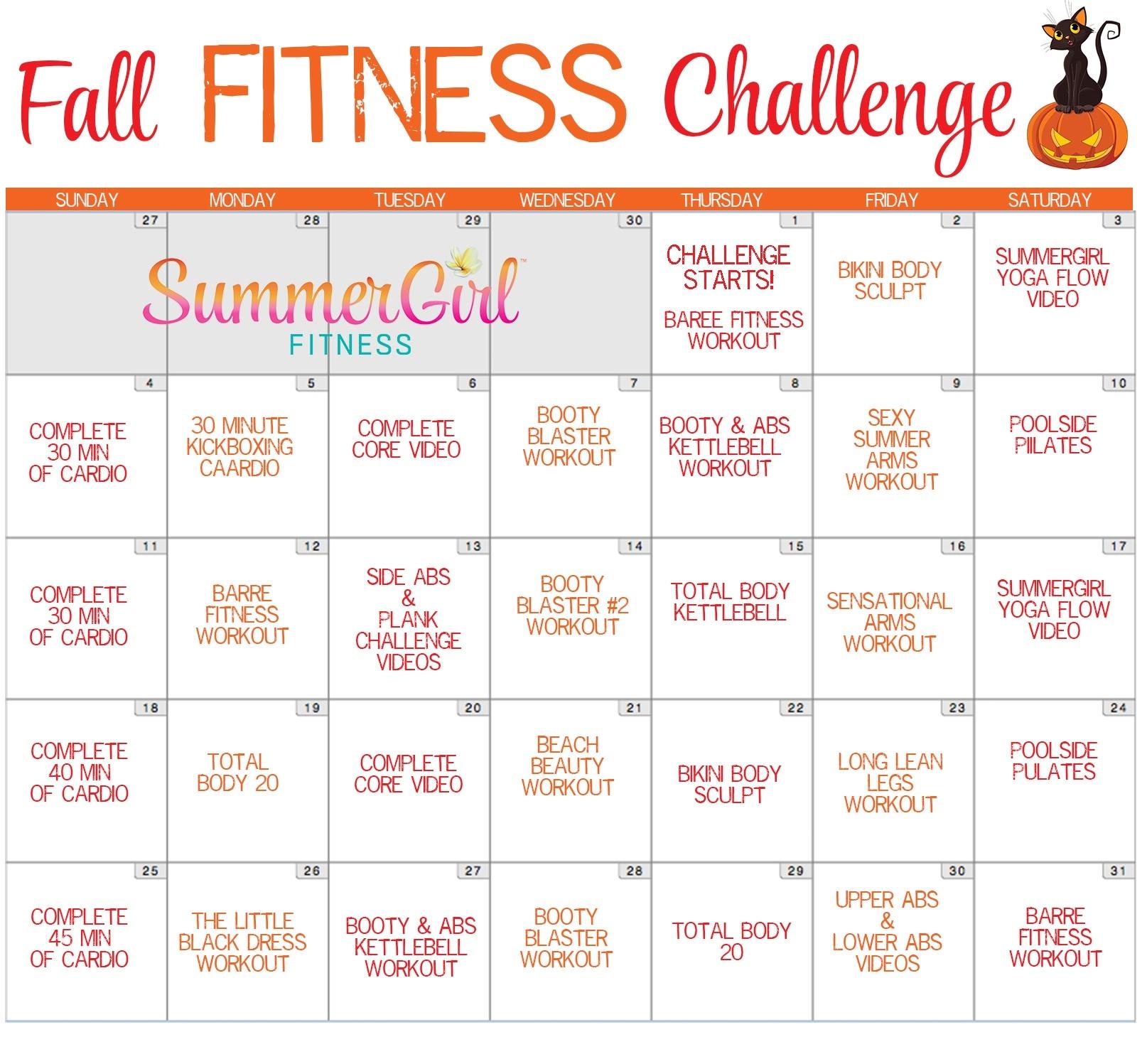Fall Fitness Challenge Calendar | Summergirl Fitness  Fitness Challeng Caladar