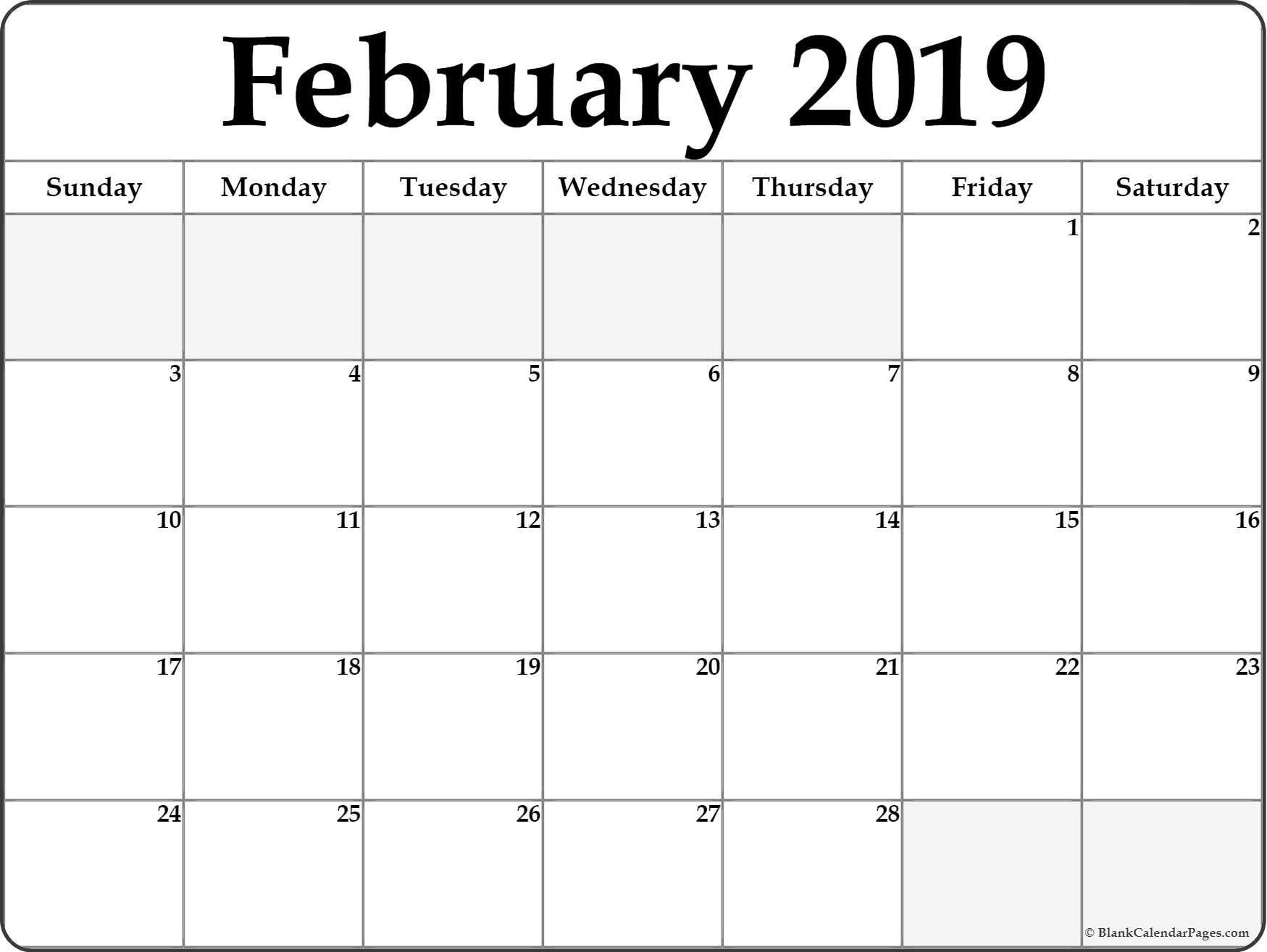 February 2019 Blank Calendar . February 2019 Calendar  February Blank Calendar Printable