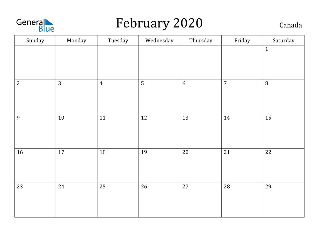 February 2020 Calendar - Canada  February 2020 Calendar Printable