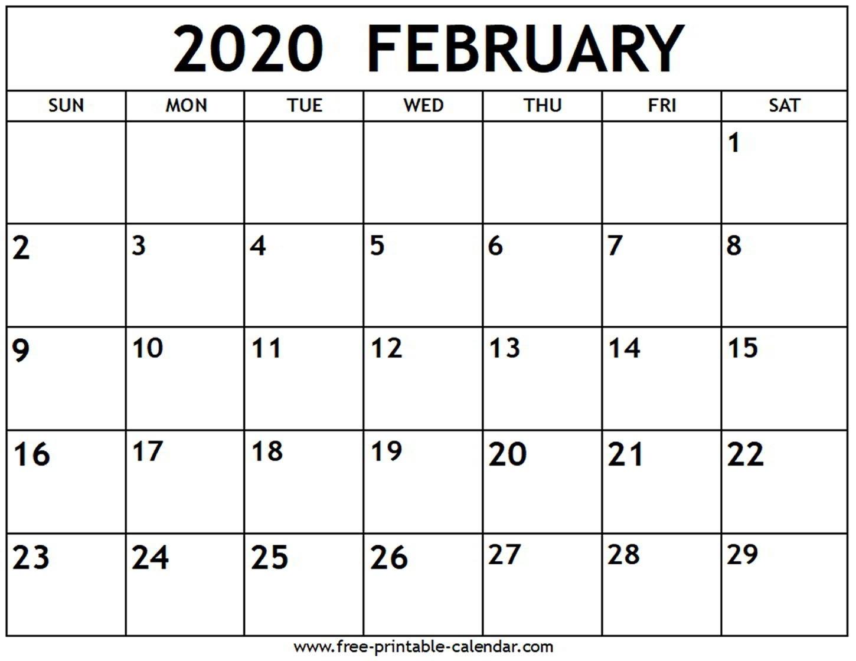 February 2020 Calendar - Free-Printable-Calendar  Printable February 2020 Calendar Page