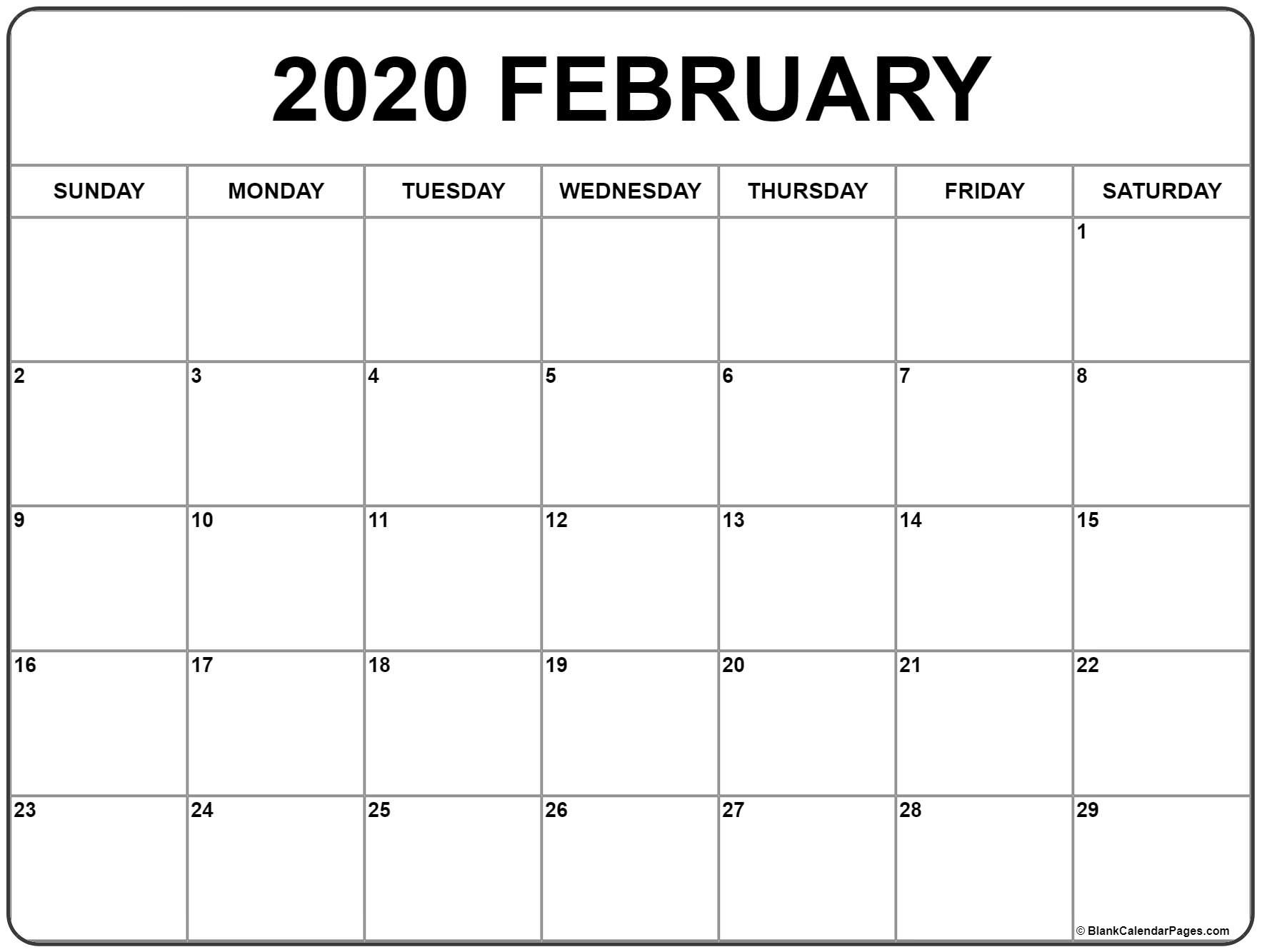 February 2020 Calendar | Free Printable Monthly Calendars  Feb 2020 Calendar