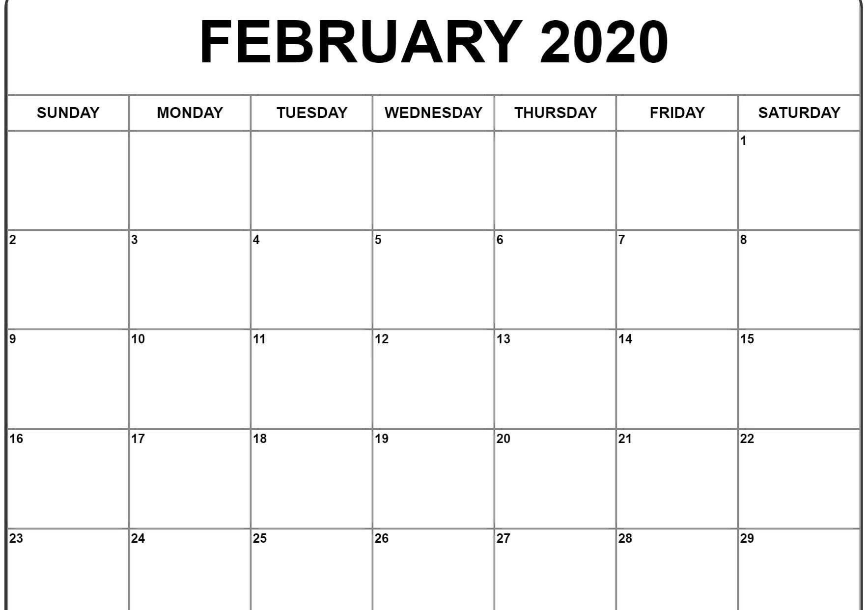 February 2020 Calendar Pdf, Word, Excel Printable Template  Feb 2020 Calendar