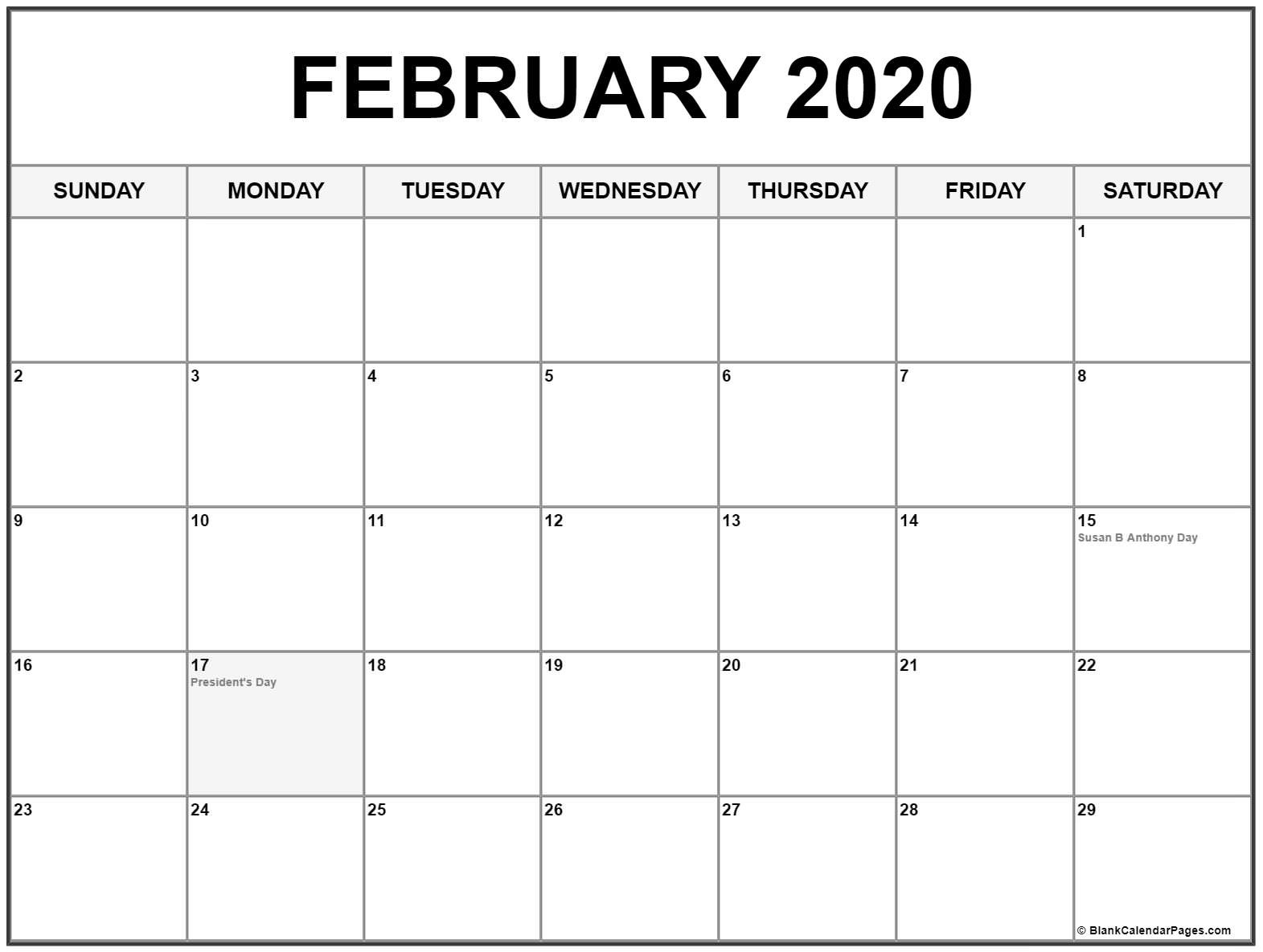 February 2020 Calendar With Holidays  February 2020 Calendar