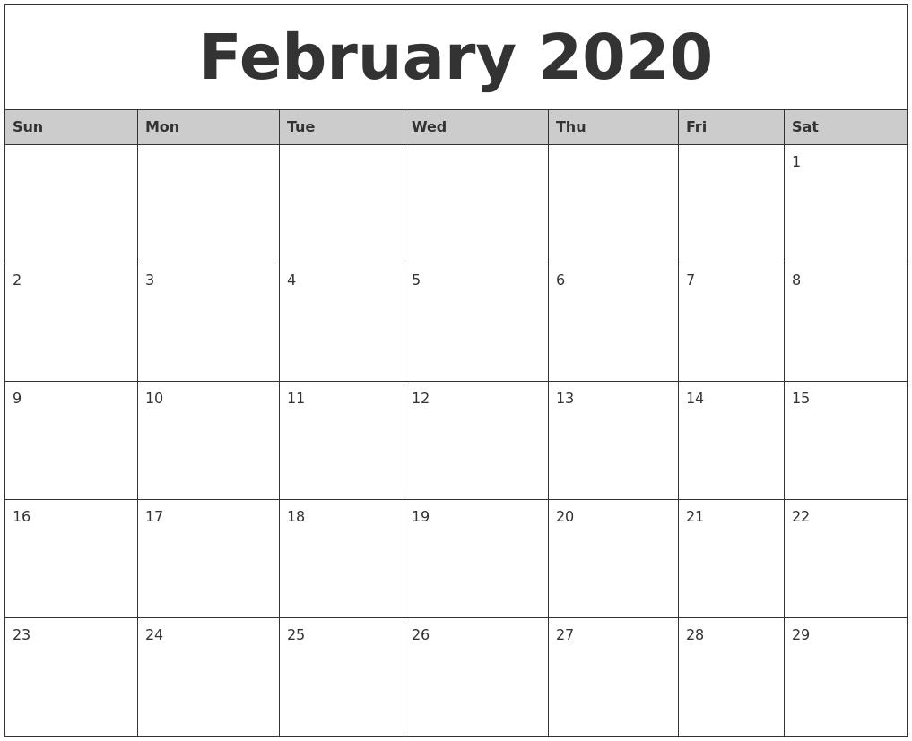 February 2020 Monthly Calendar Printable  February Blank Calendar Printable