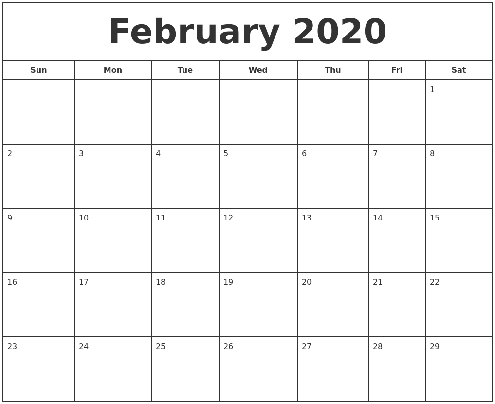 February 2020 Print Free Calendar  2020 Calendar Printable Free