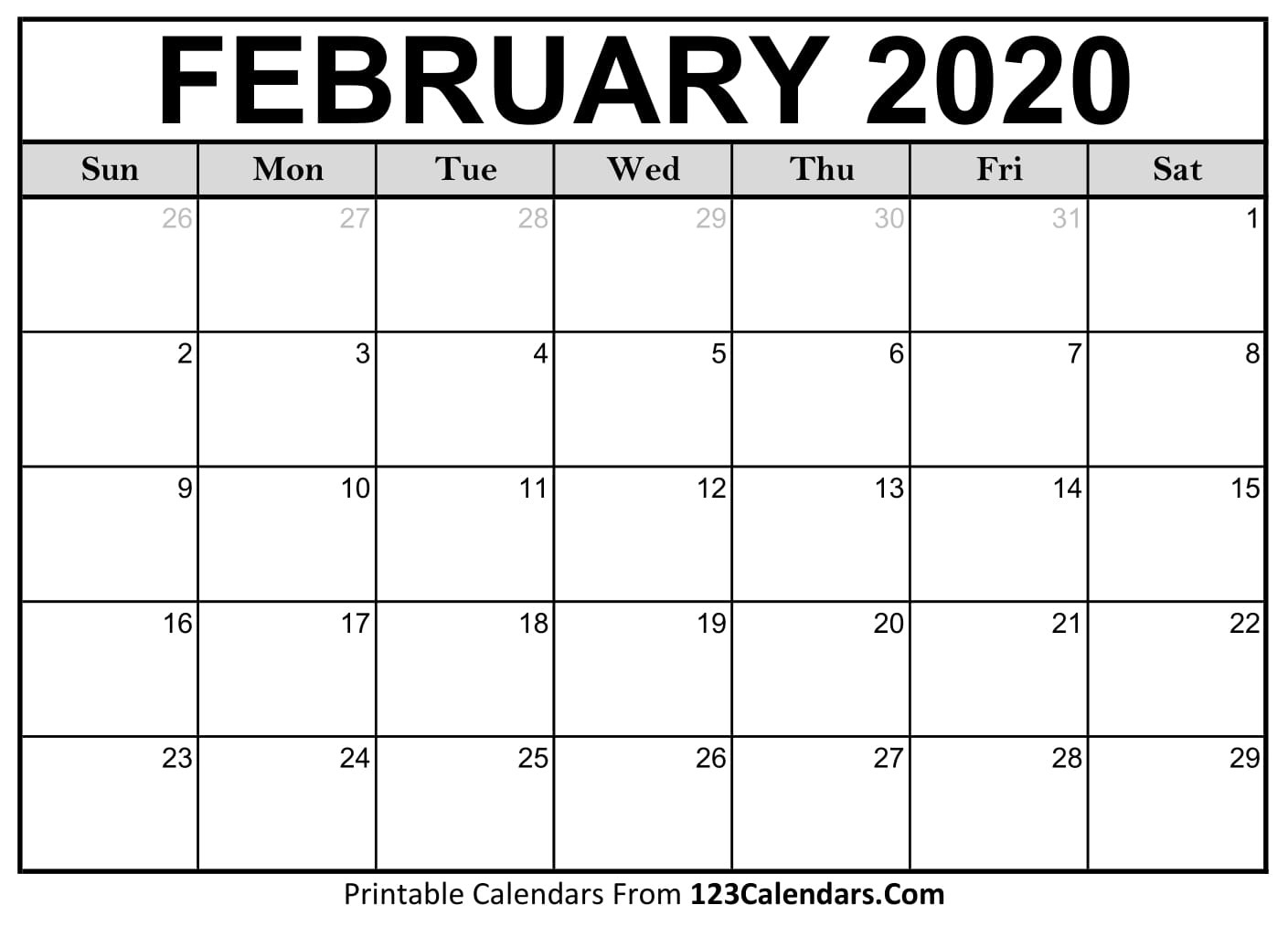 February 2020 Printable Calendar | 123Calendars  February Blank Calendar Printable