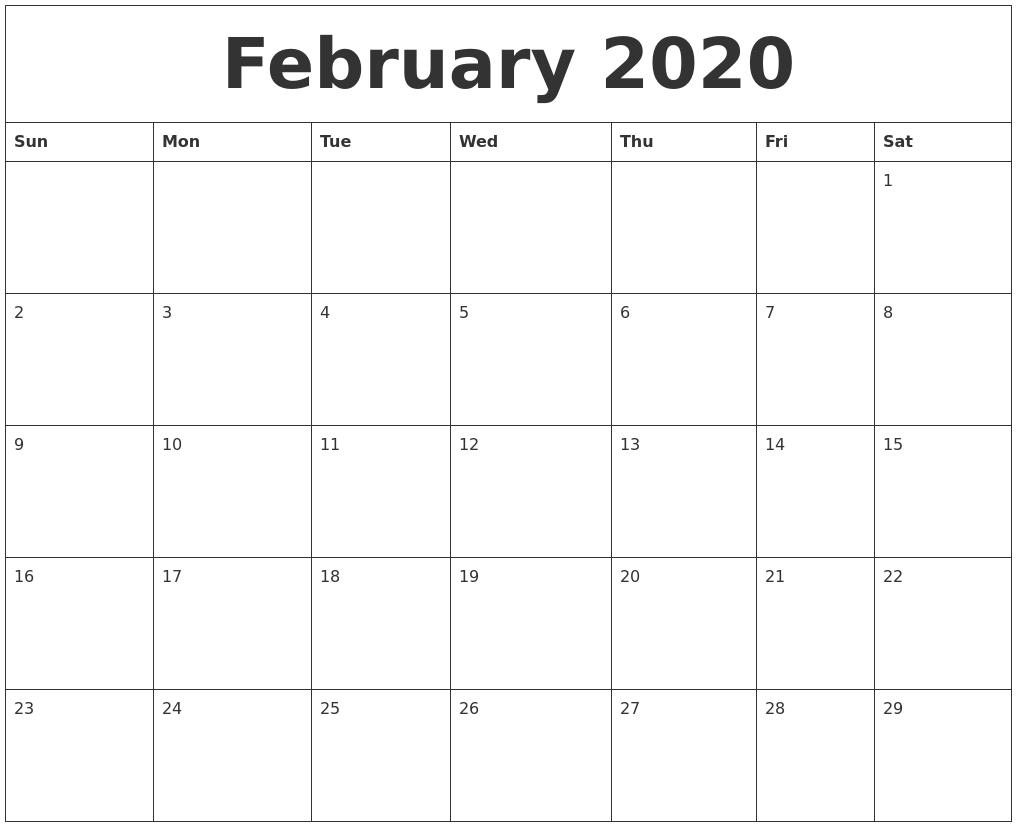 February 2020 Printable Calendar Free  Calendar Template 2020 Printable Free