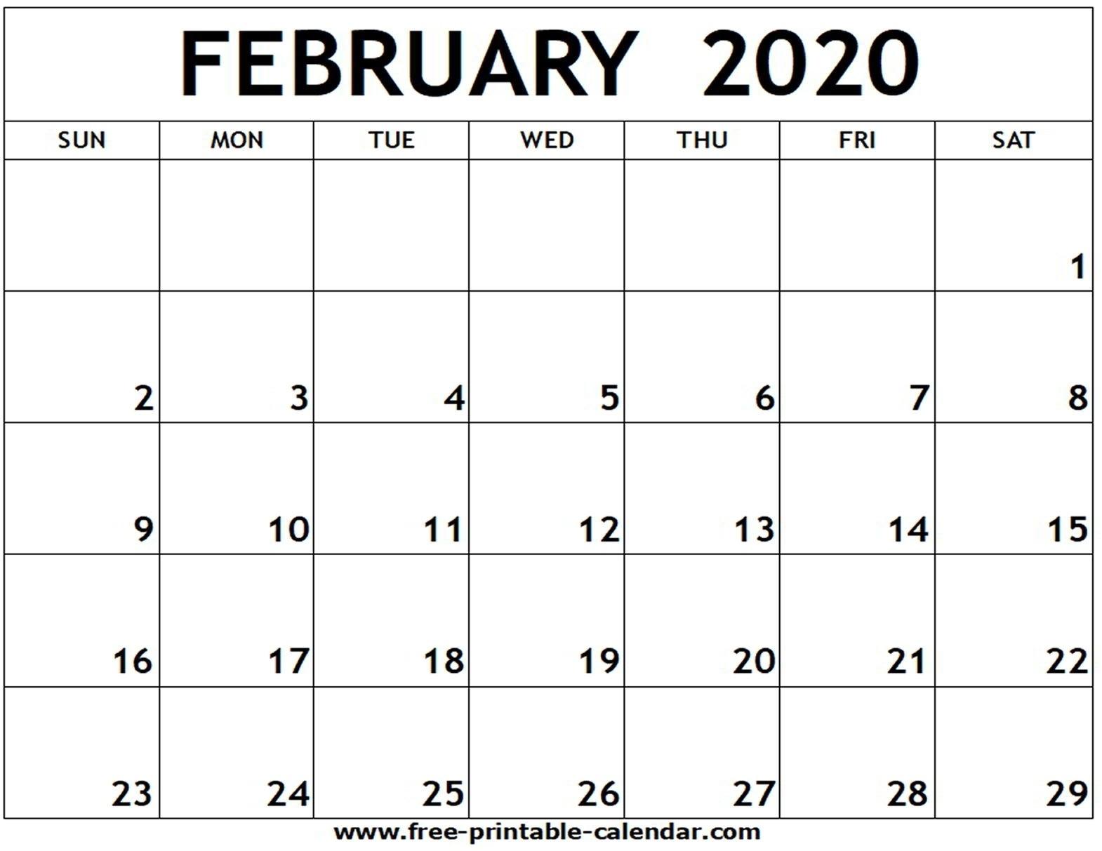 February 2020 Printable Calendar – Free-Printable-Calendar  Blank Calendar 2020