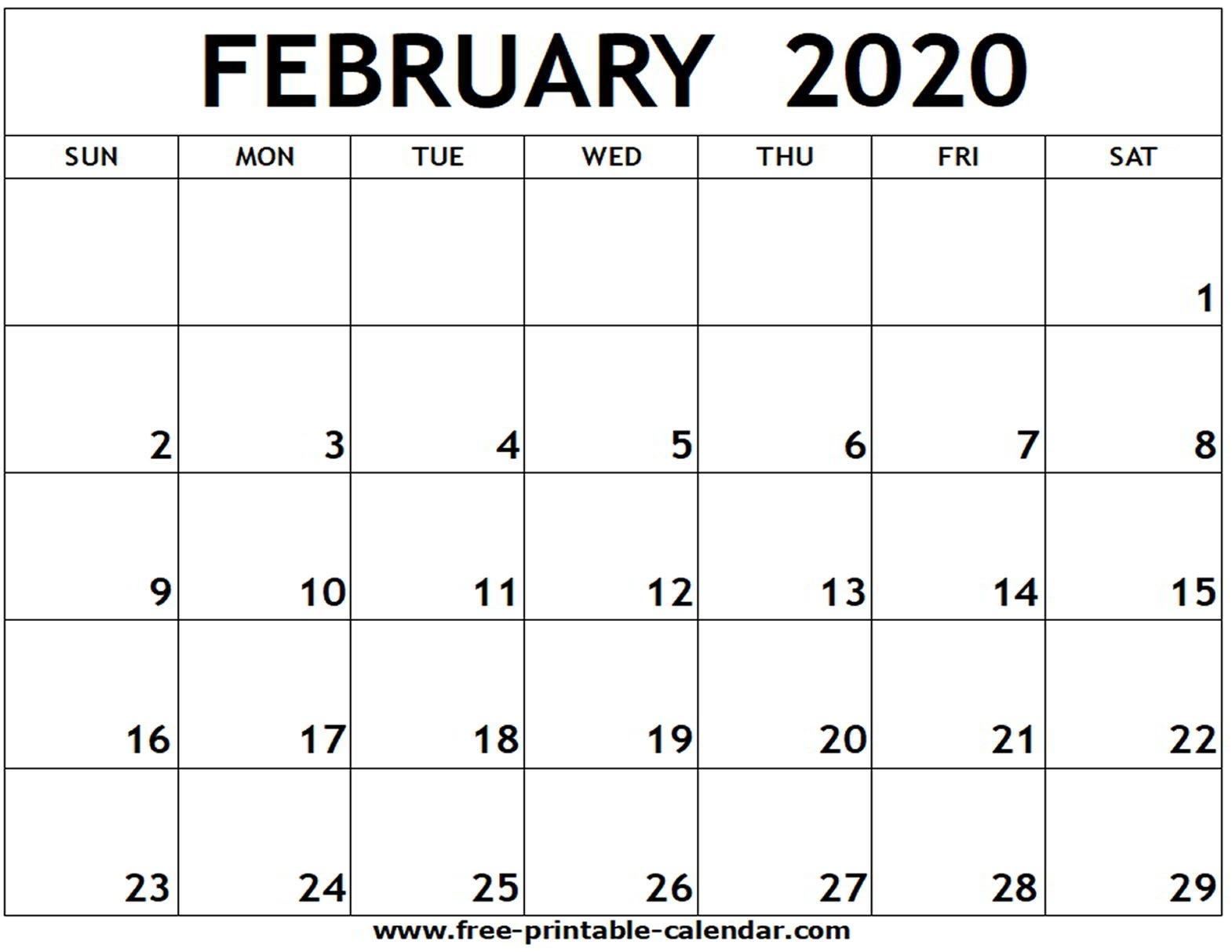 February 2020 Printable Calendar - Free-Printable-Calendar  February 2020 Calendar Printable