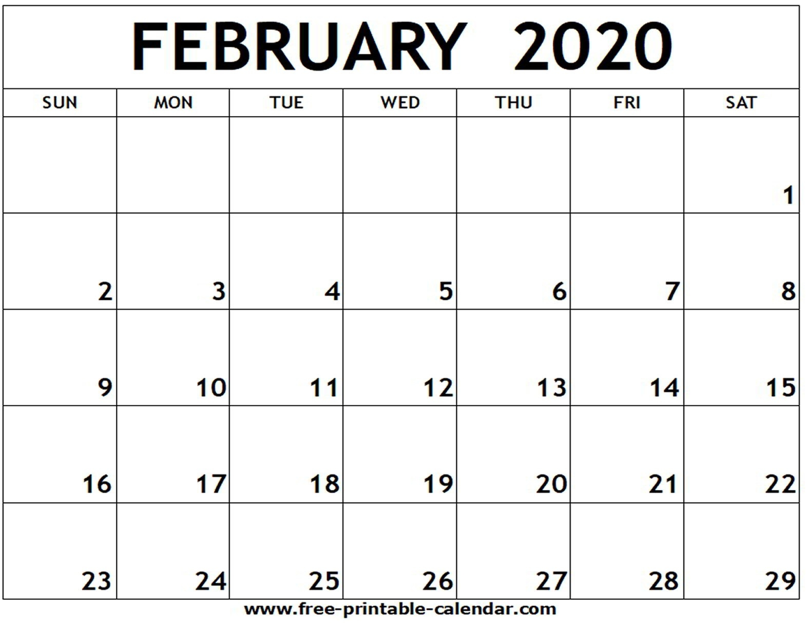 February 2020 Printable Calendar - Free-Printable-Calendar  Printable February 2020 Calendar Page
