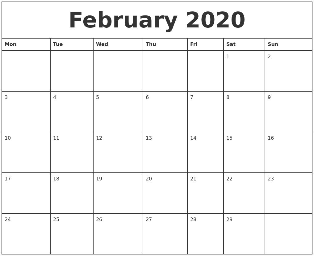 February 2020 Printable Monthly Calendar  February Blank Calendar Printable