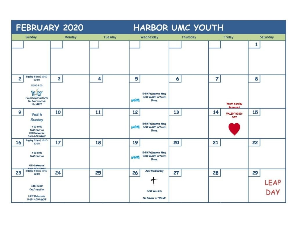 February 2020 Youth Ministry Calendar - Harbor United  United Methodist Church 2020 Calendar