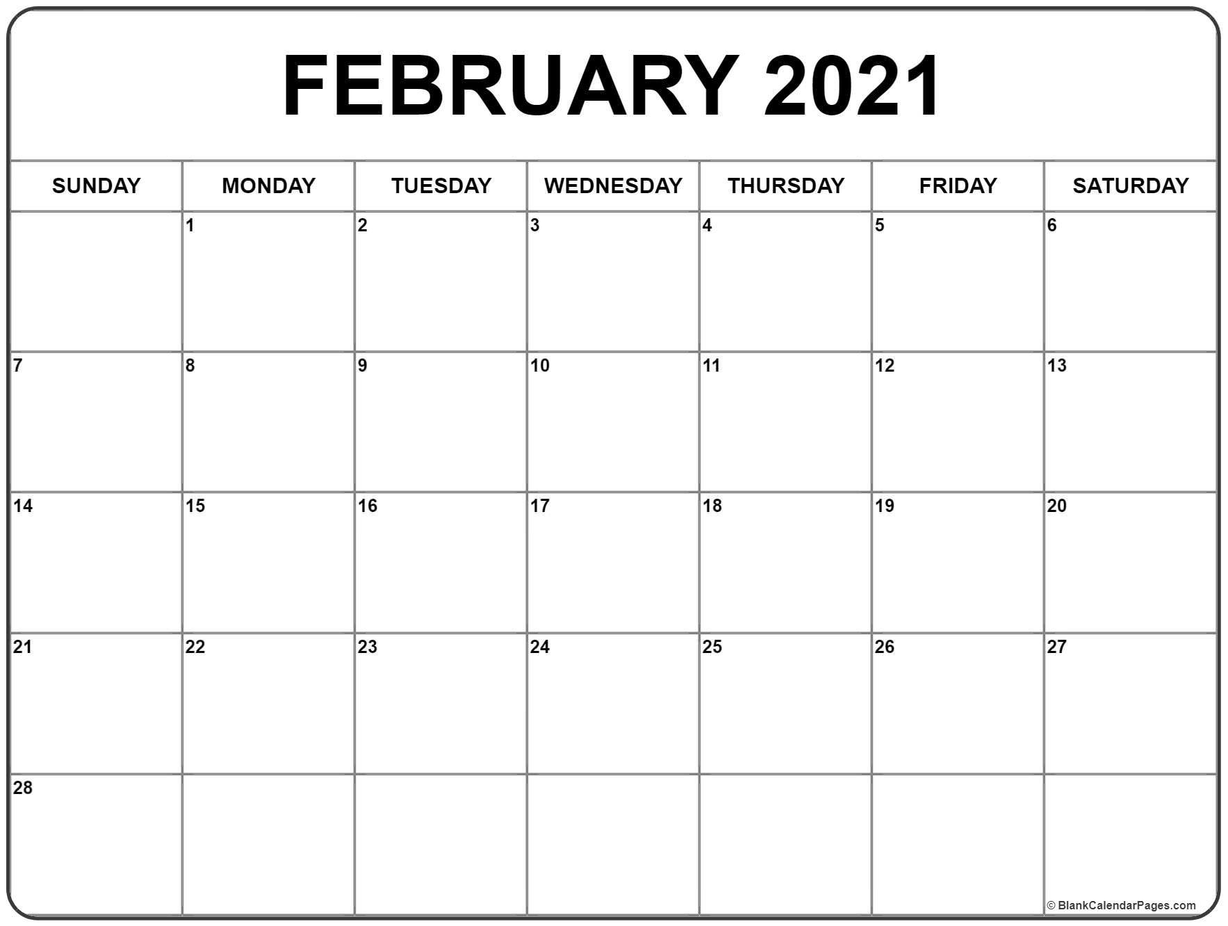 February 2021 Calendar | Free Printable Monthly Calendars  2021 Calendar Printable