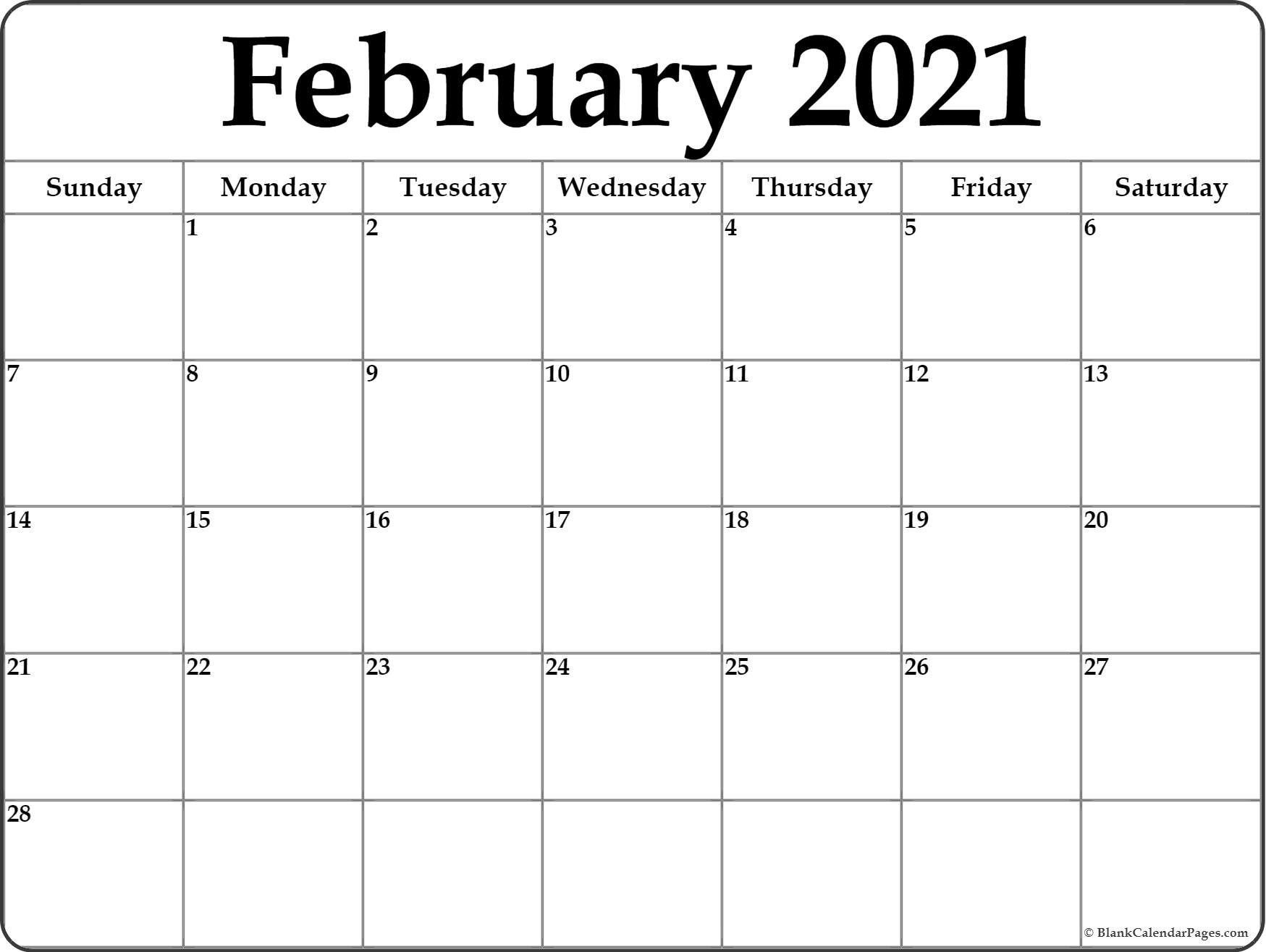February 2021 Calendar | Free Printable Monthly Calendars  2021 Printable Calendar By Month