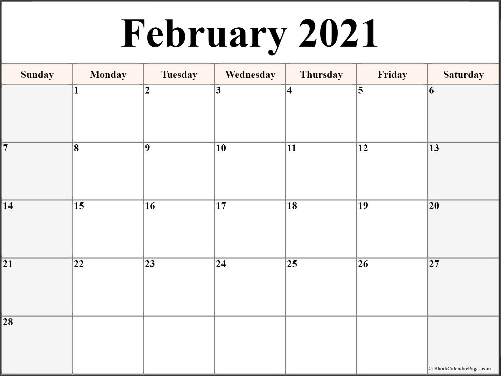 February 2021 Calendar | Free Printable Monthly Calendars  February Blank Calendar Printable