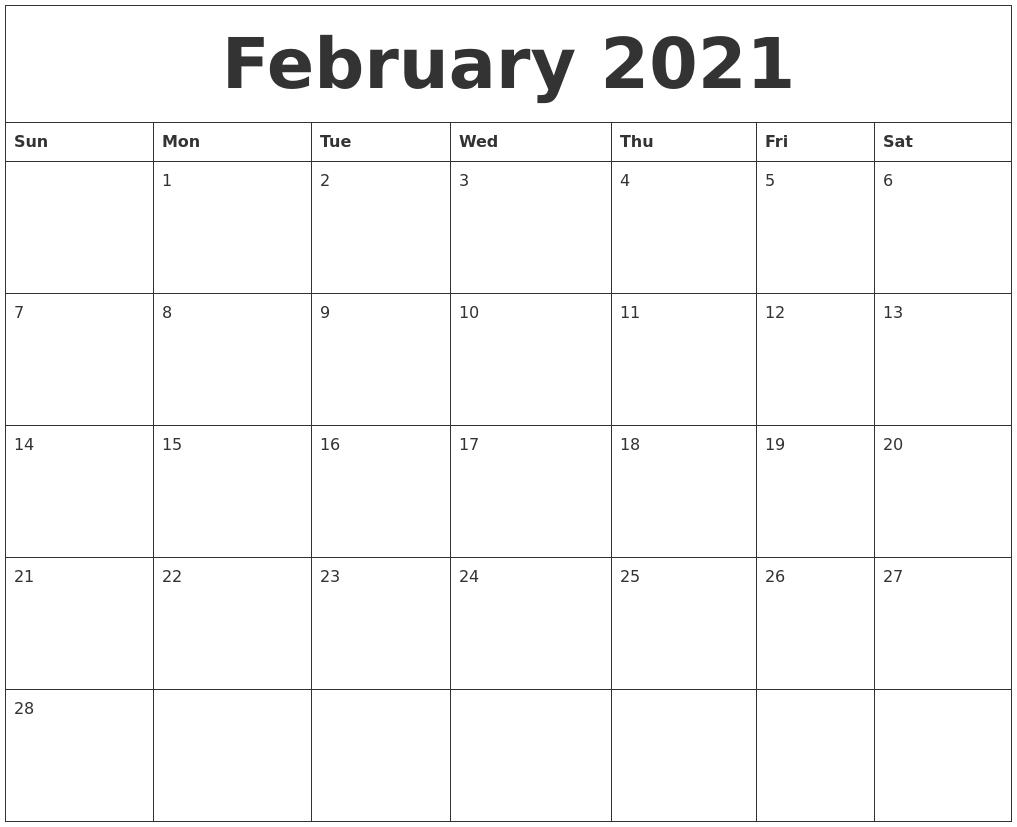 February 2021 Calendar Templates Free  Free Monthly Calendar Template 2021