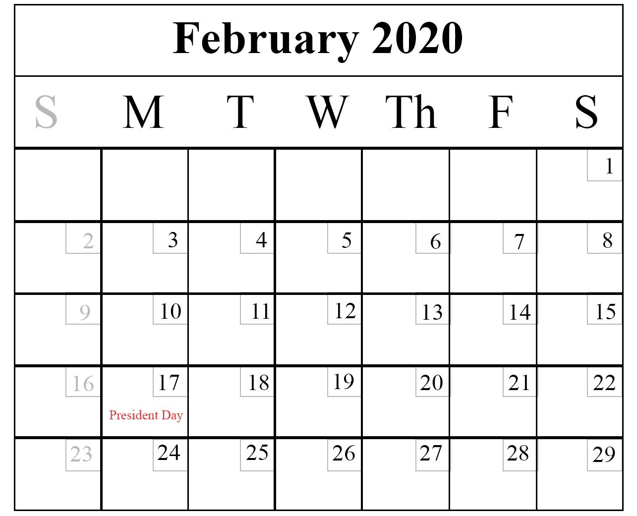 February Calendar 2020 Free Printable Template Pdf Word  Calendar 2020 Free Printable