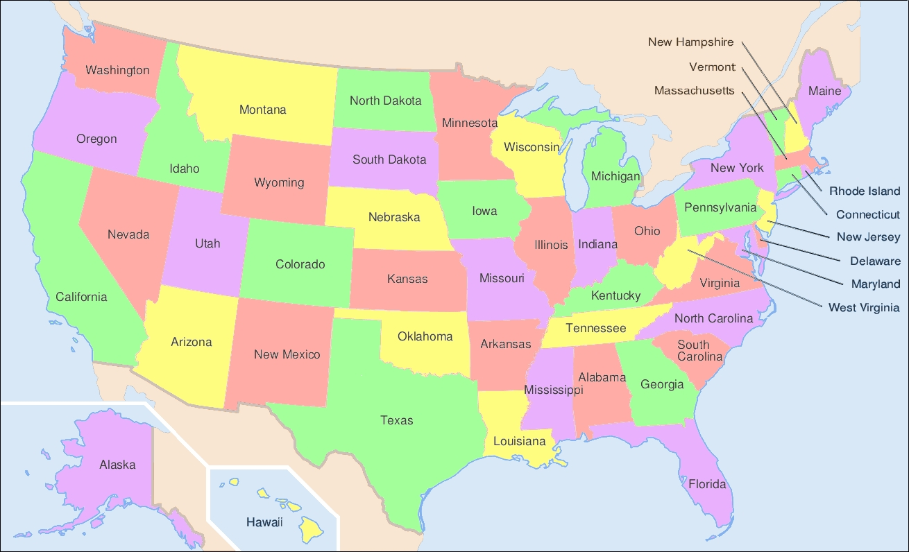 File:map Of Usa Showing State Names - Wikimedia Commons  United States Map