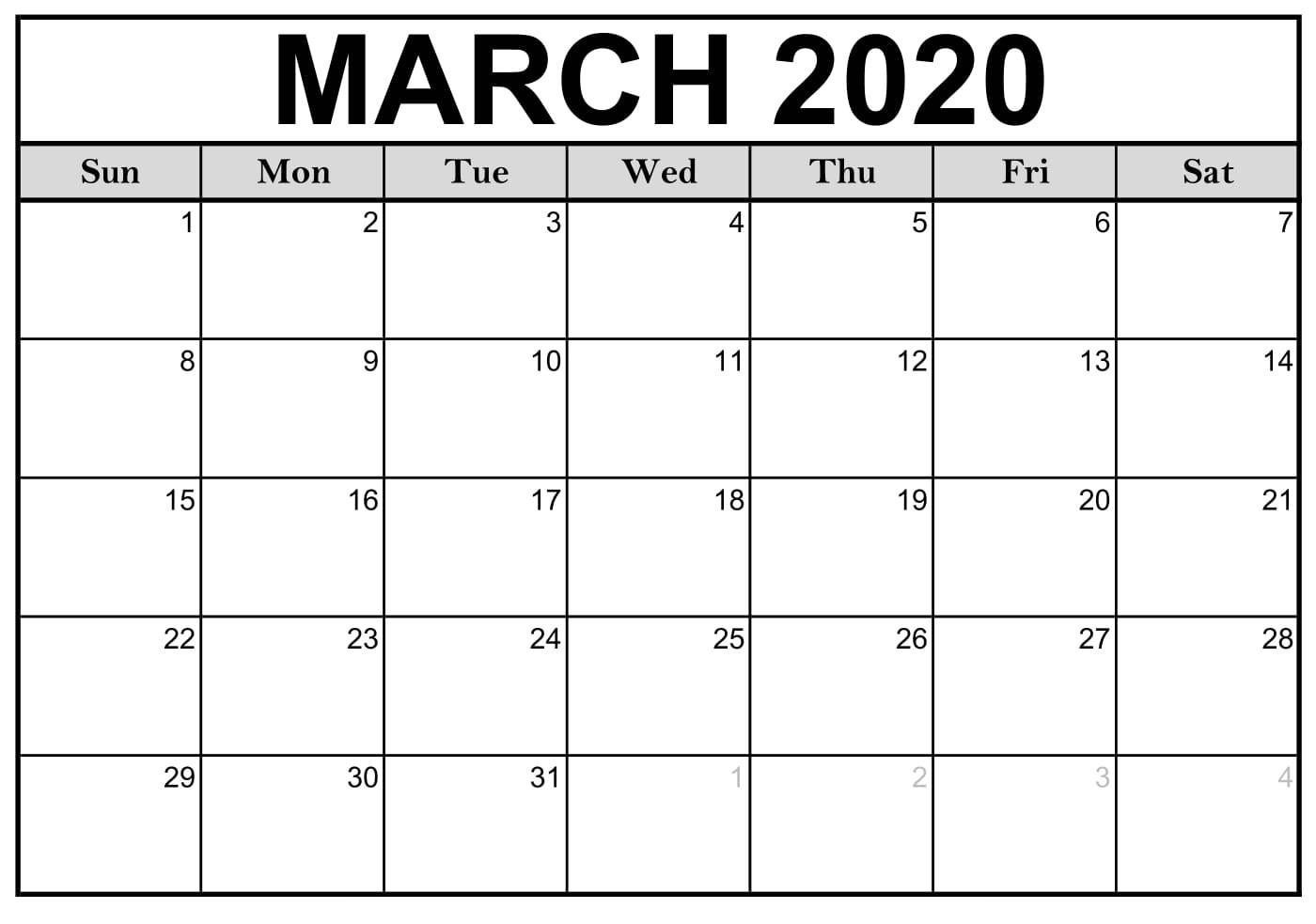 Fillable March 2020 Calendar Template Word, Pdf, Excel  Printable March 2020 Calendar Pdf