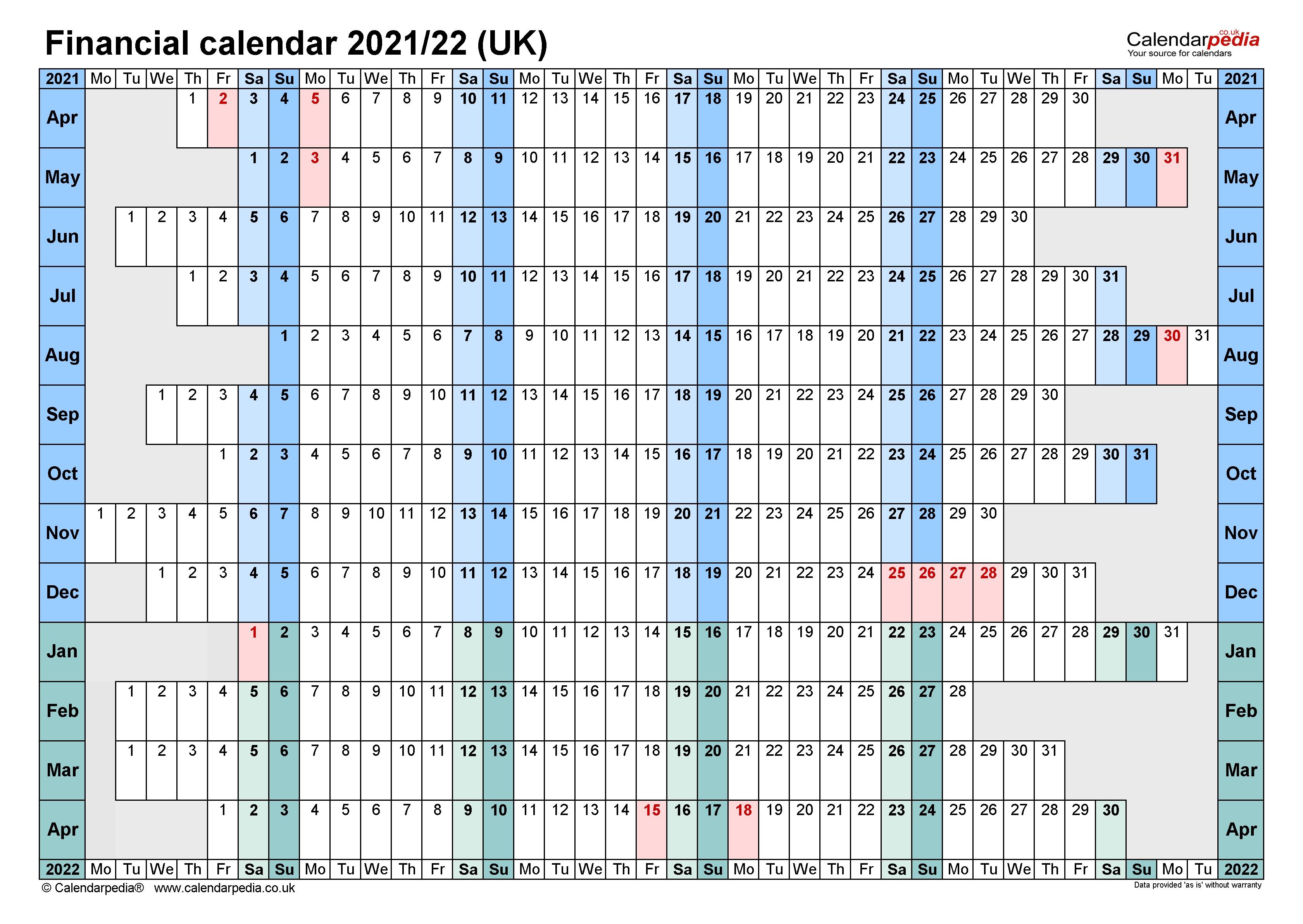 Financial Calendars 2021/22 (Uk) In Microsoft Word Format  2021/19 Financial Year Calendar Australia
