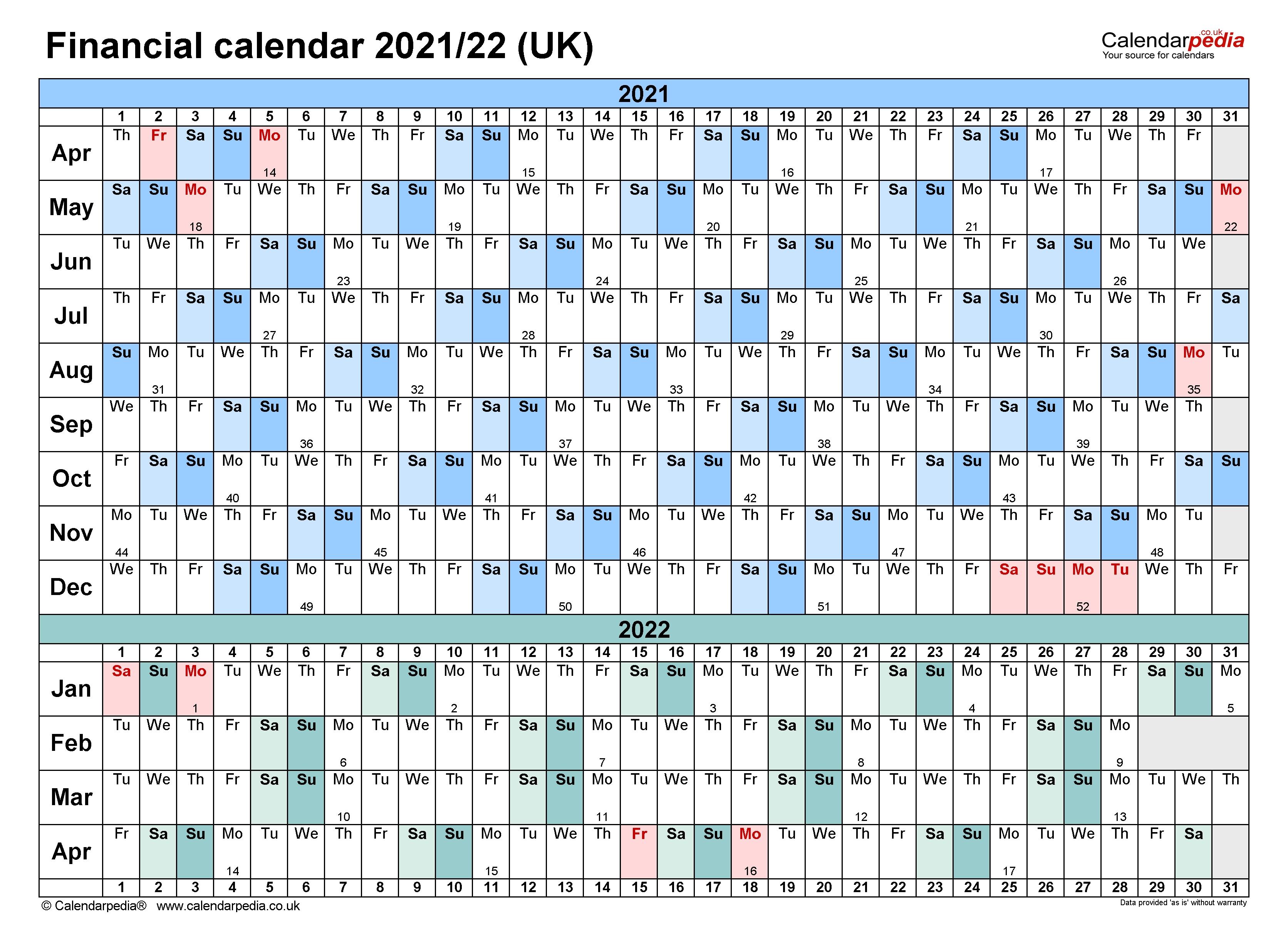 Financial Calendars 2021/22 (Uk) In Microsoft Word Format  Financial Year Calendar 2021/19 Australia