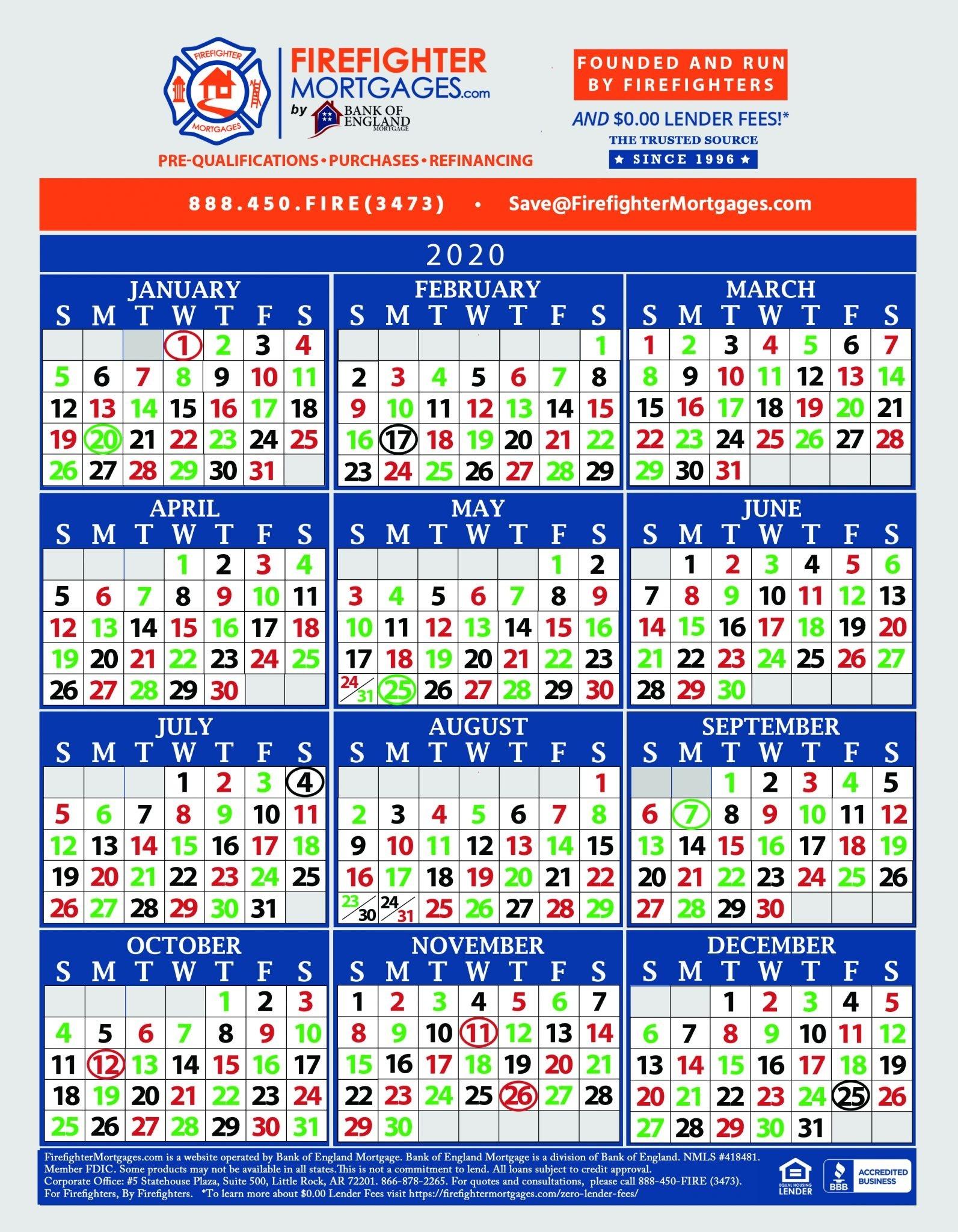 Firefighter Shift Calendars - Firefighter Mortgages®  Phoenix Fire Shift Calendar 2020