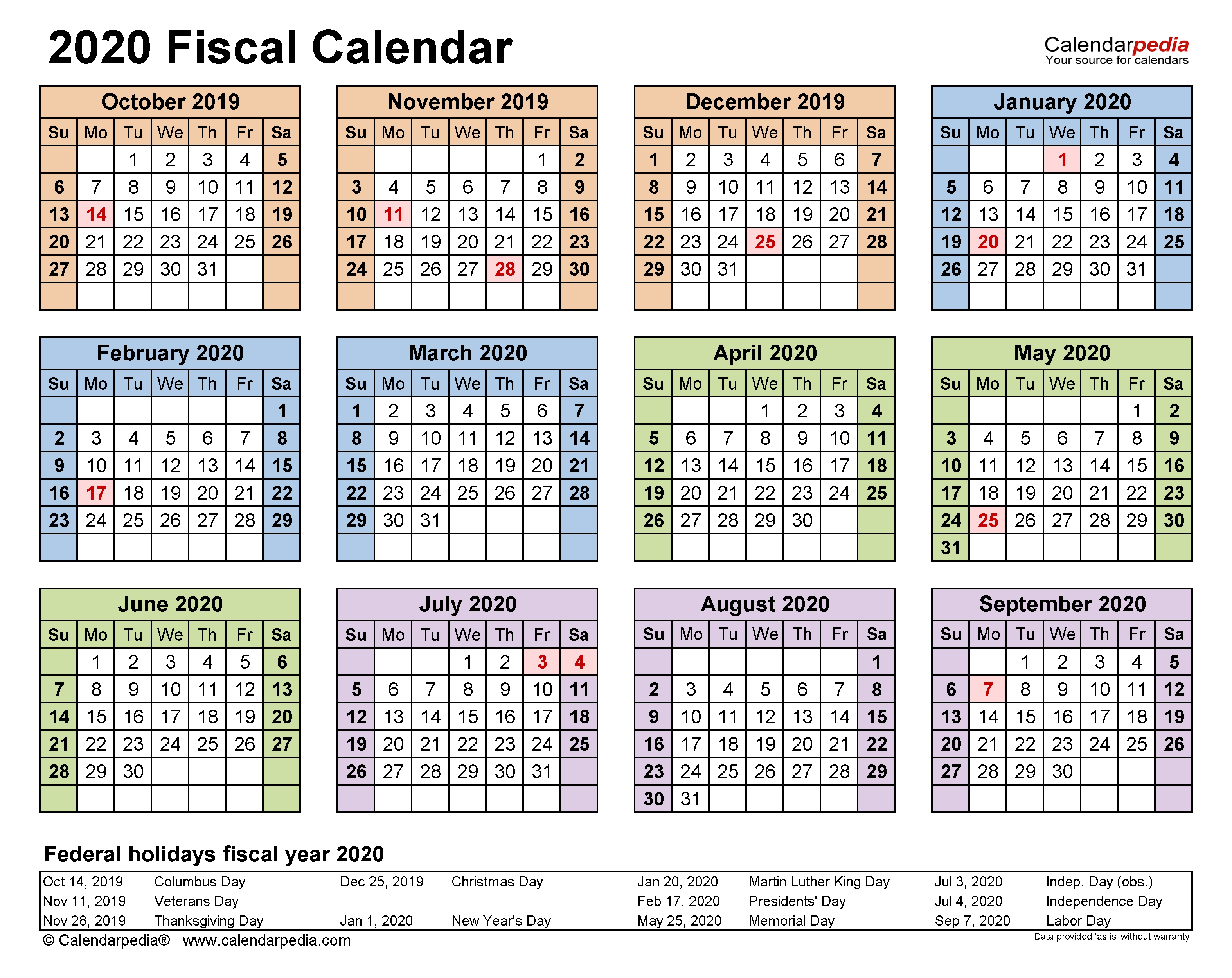 Fiscal Calendars 2020 - Free Printable Pdf Templates  2020 Usps Postal Pay Periods
