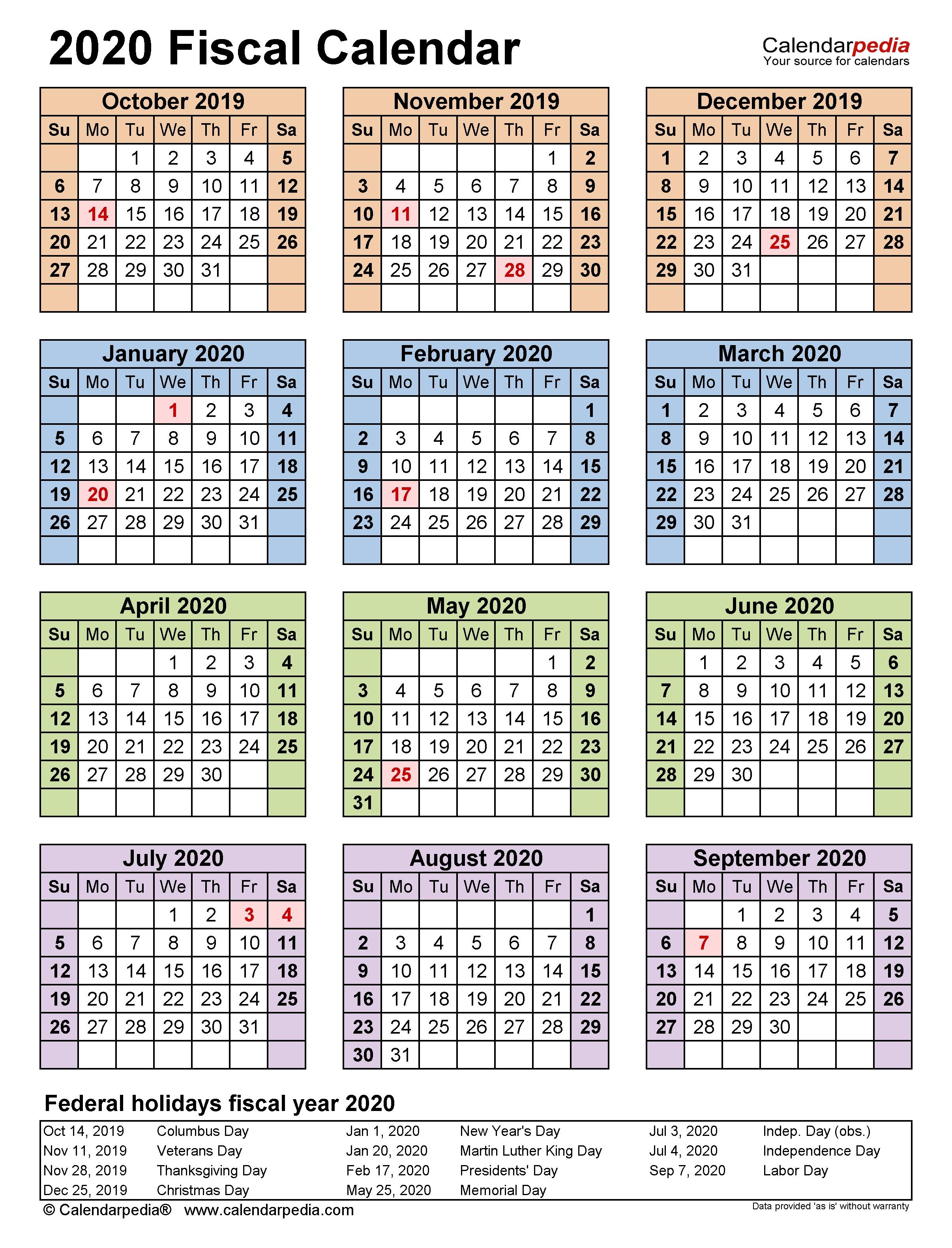 Fiscal Calendars 2020 - Free Printable Pdf Templates  Faa Payroll Calendar 2020