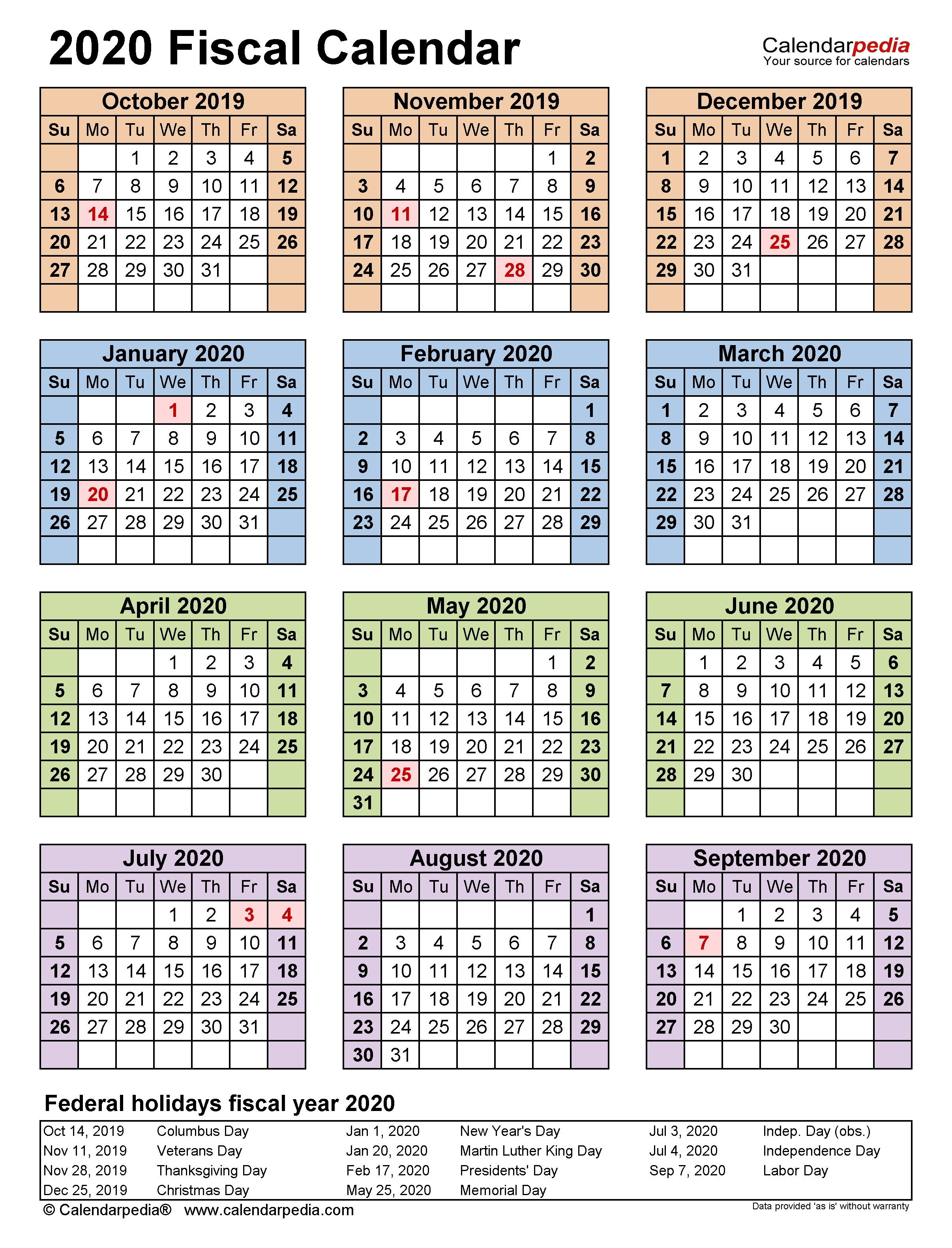 Fiscal Calendars 2020 - Free Printable Pdf Templates  Fin Year 18-19