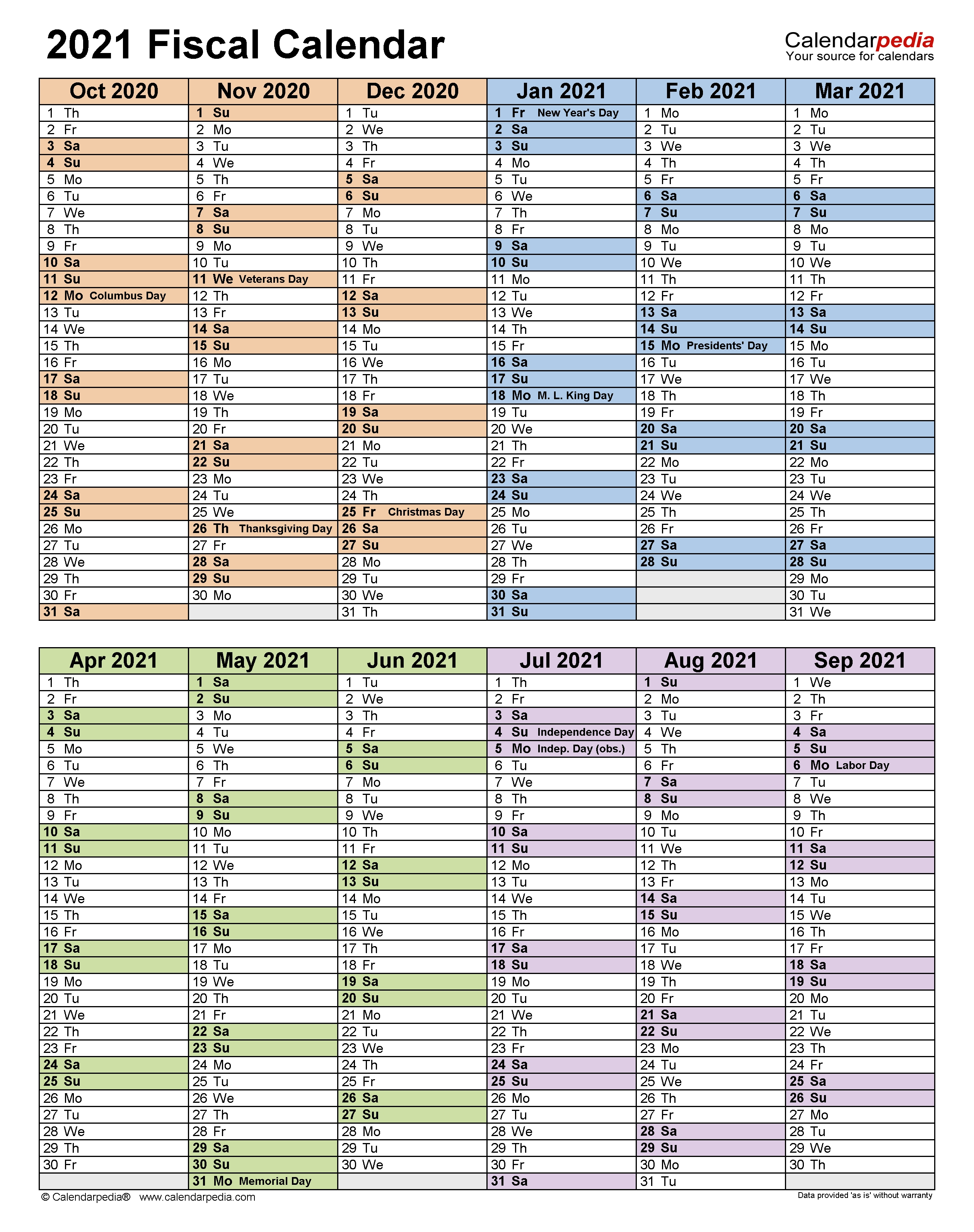 Fiscal Calendars 2021 - Free Printable Excel Templates  Financial Year 2021