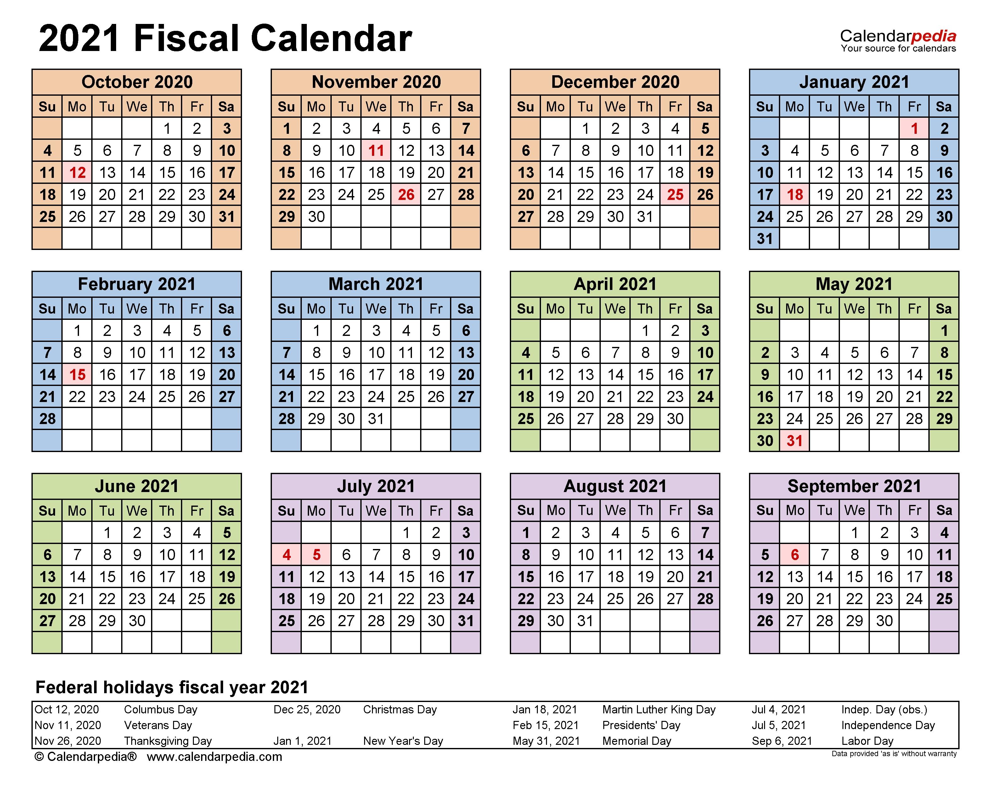 Fiscal Calendars 2021 - Free Printable Pdf Templates  Australian Fiscal Year 2021
