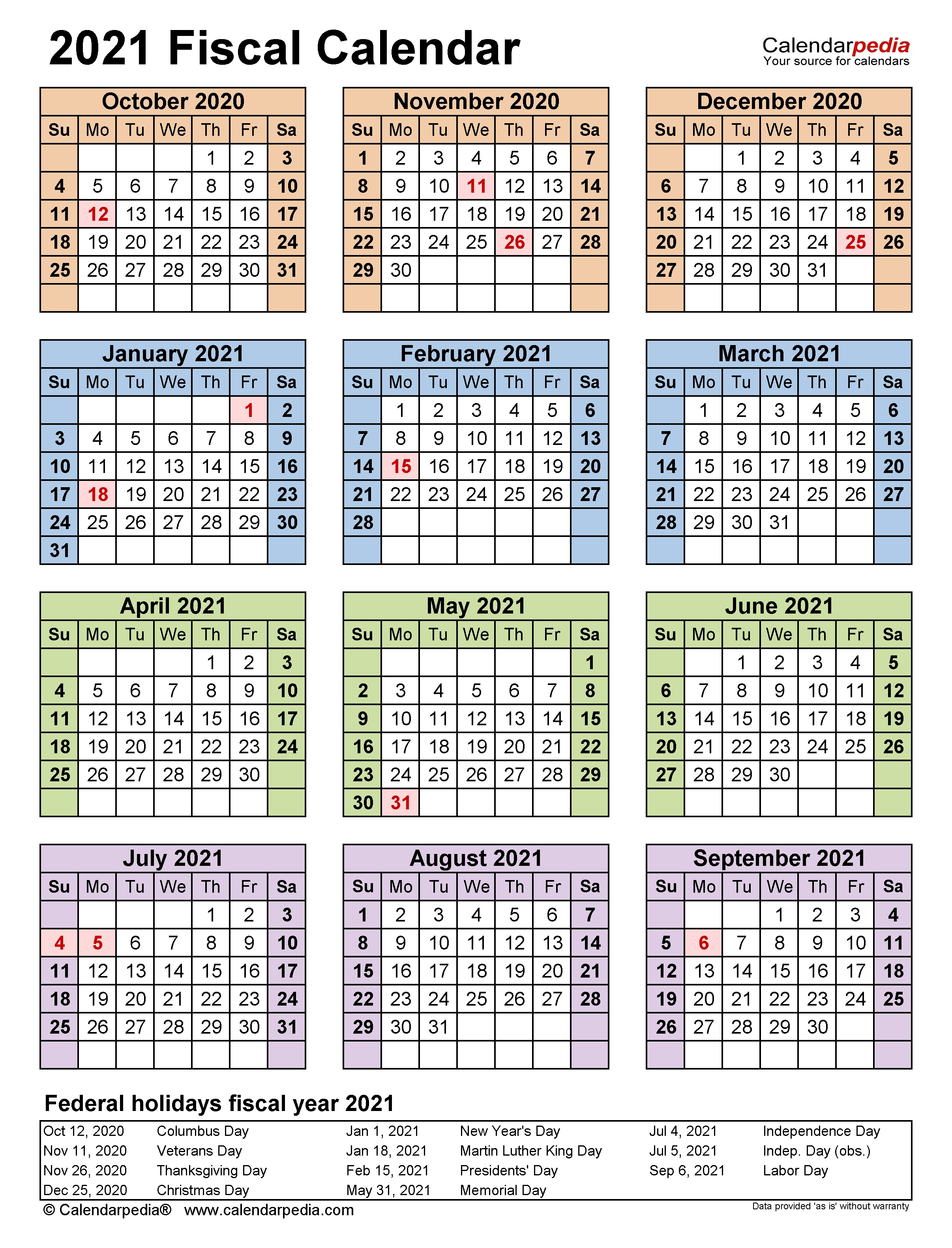 Fiscal Calendars 2021 - Free Printable Pdf Templates  Australian Fiscal Year 2021