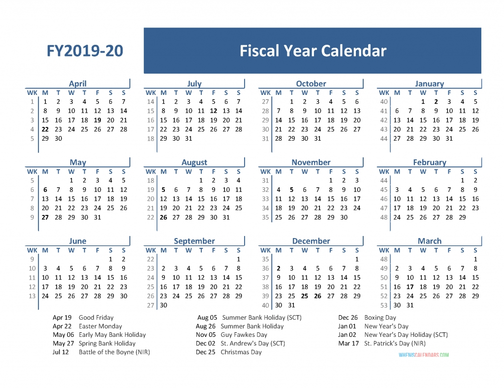 Fiscal Year 2019 Calendar With Holidays (April 2019-March  Fiscal Year 2020 Calendar