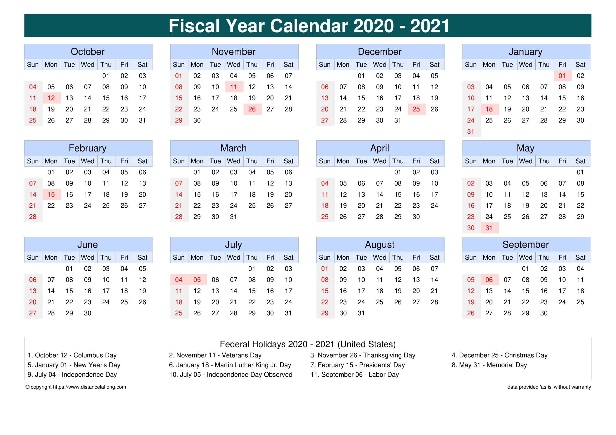 Fiscal Year 2020-2021 Calendar Templates, Free Printable  2020 2021 Financial Calendar
