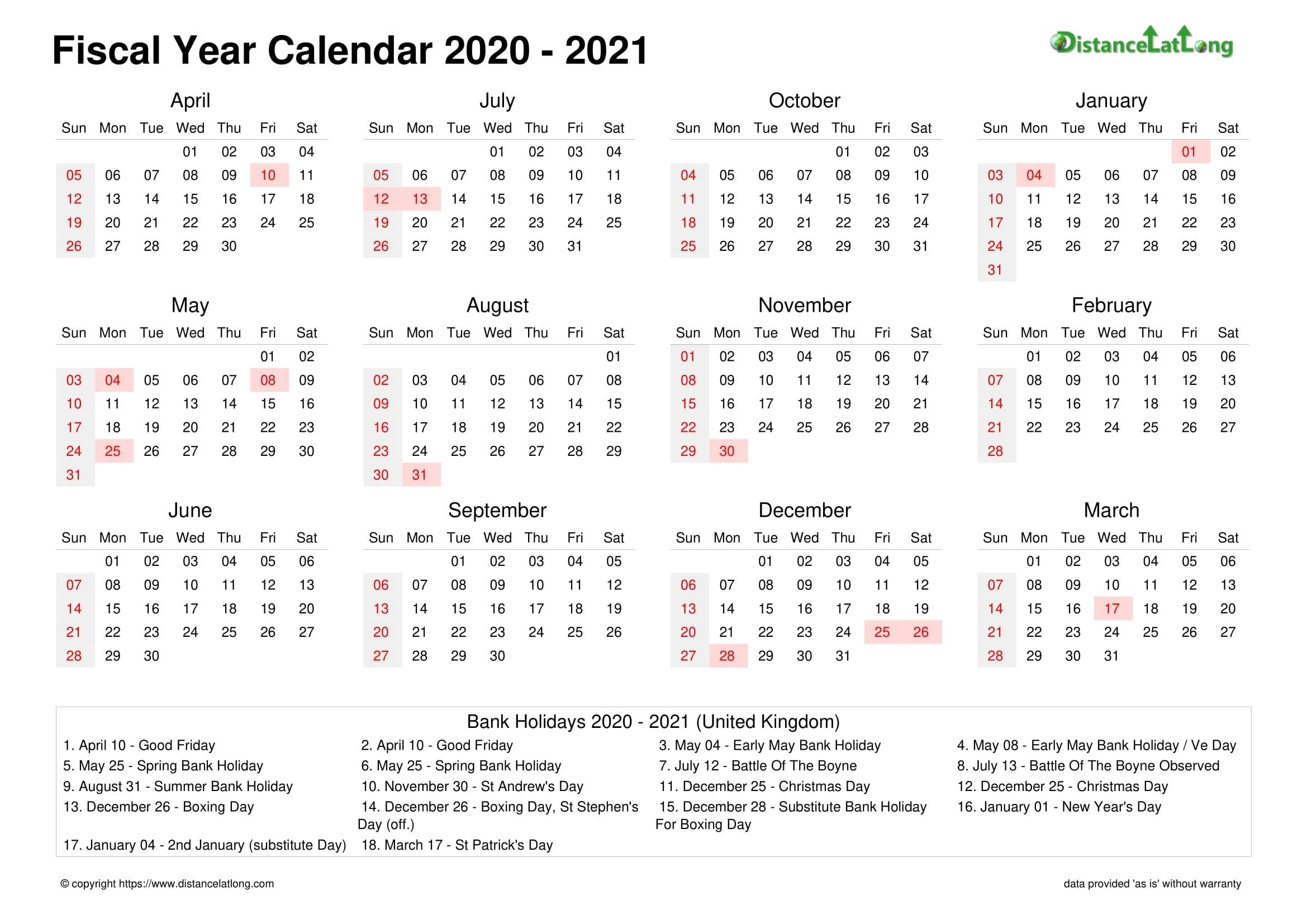 Fiscal Year 2020-2021 Calendar Templates, Free Printable  2021 19 Financial Calendar Printable