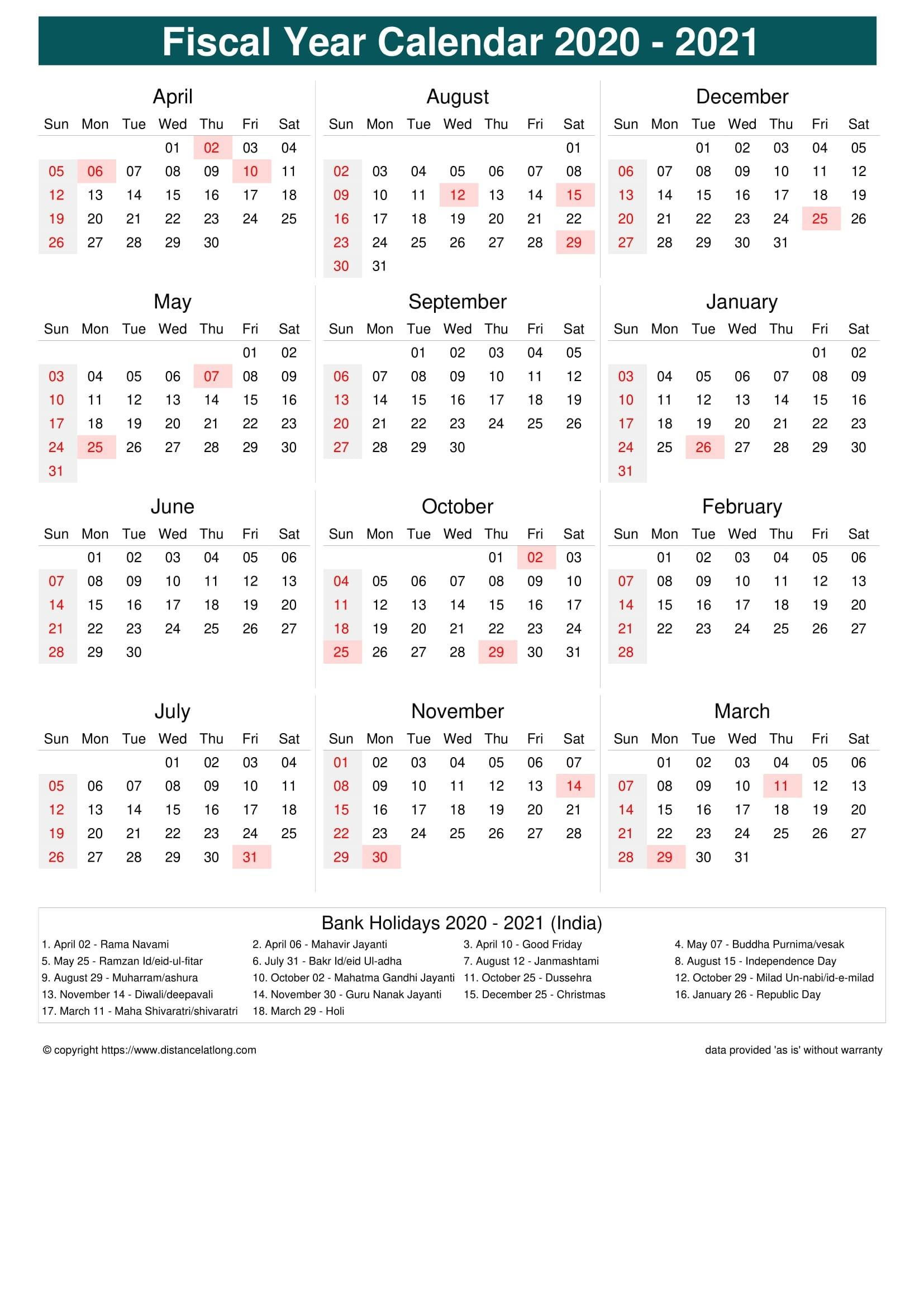 Fiscal Year 2020-2021 Calendar Templates, Free Printable  2021 Attendance Calendar Printable Pdf