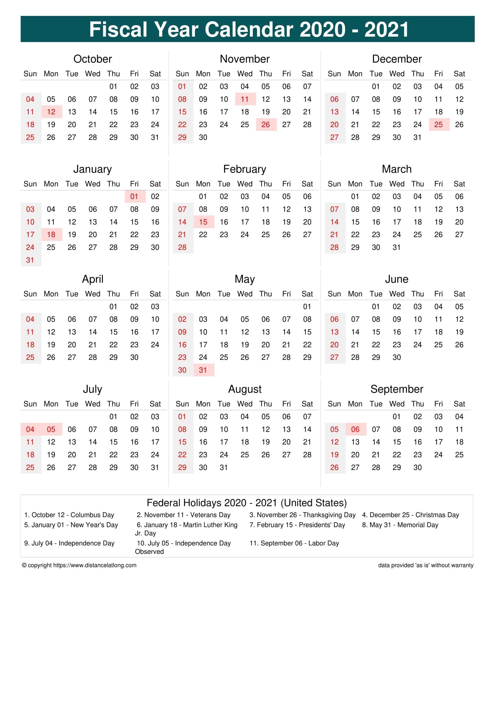 Fiscal Year 2020-2021 Calendar Templates, Free Printable  Fiscal Year Australia 2021