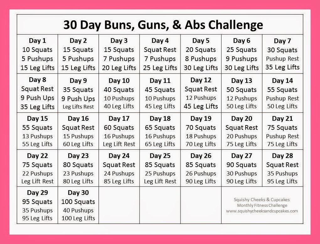 Fitness Archives - Squishy Cheeks & Cupcakes  30 Day Fitness Challenges Printables